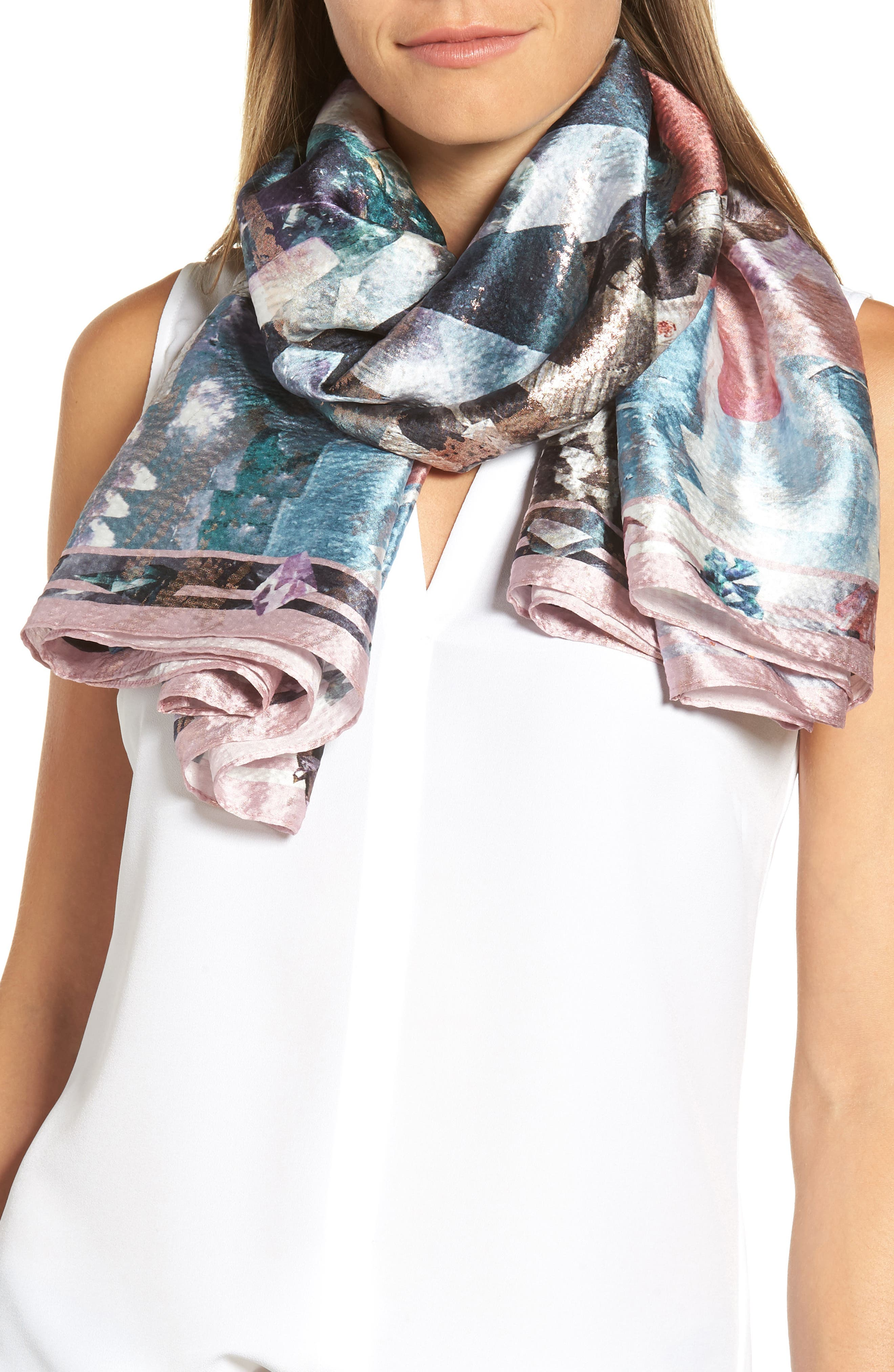 Mirrored Minerals Silk Cape Scarf,                             Alternate thumbnail 4, color,                             021