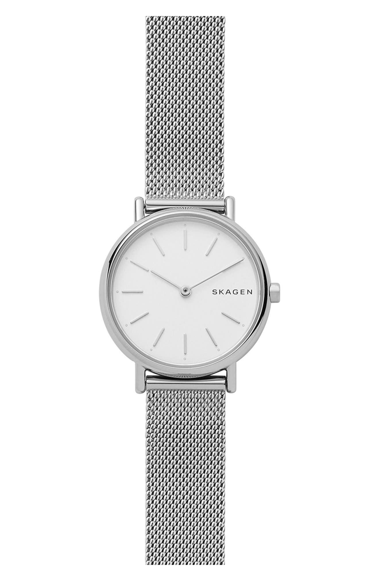 Signatur Slim Mesh Strap Watch, 30mm,                         Main,                         color, SILVER/ WHITE/ SILVER