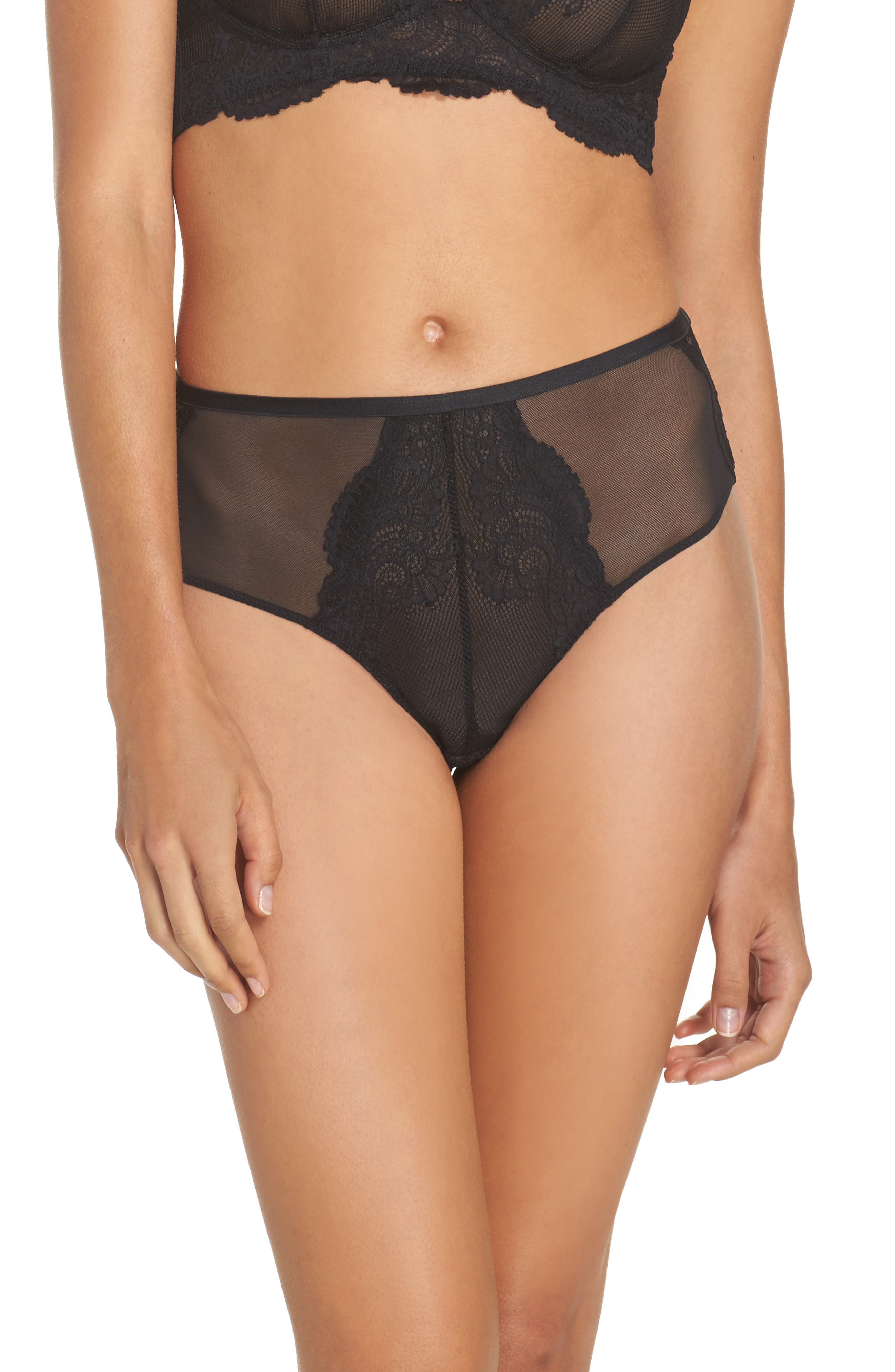 Intimately FP Jasmine High Waist Briefs,                             Main thumbnail 1, color,                             001