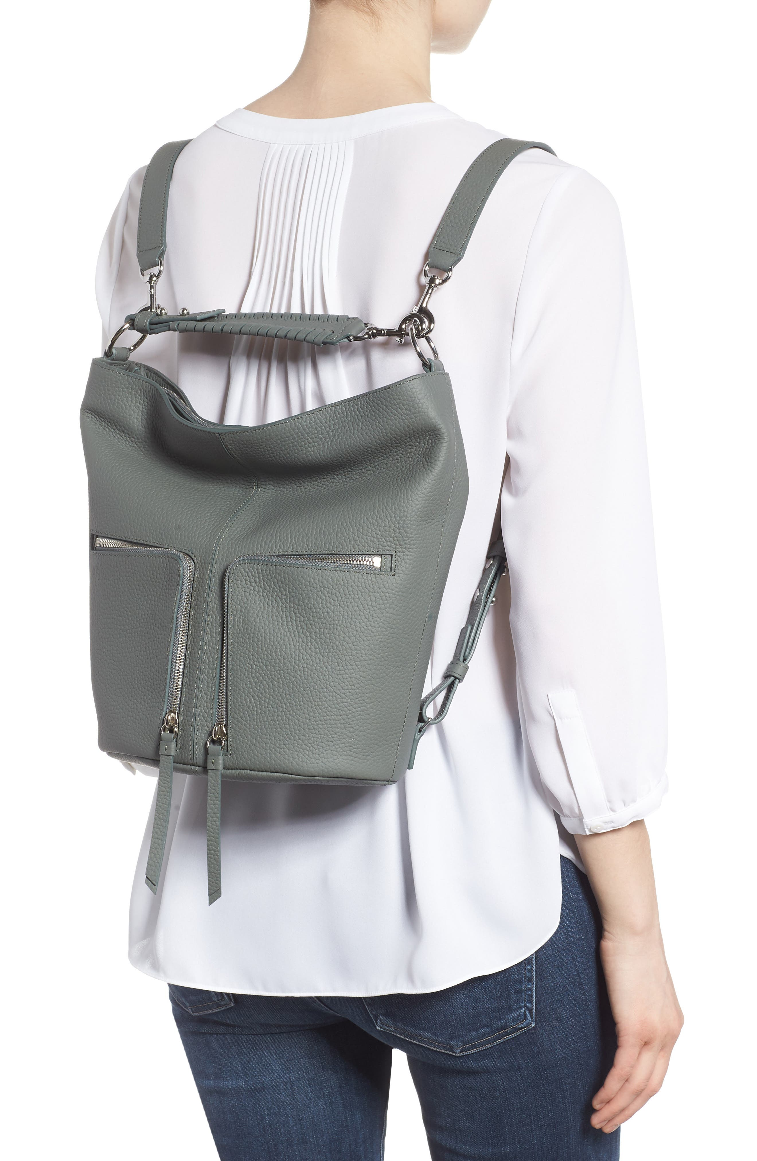 Small Fetch Leather Backpack,                             Alternate thumbnail 2, color,                             LIGHT SLATE BLUE
