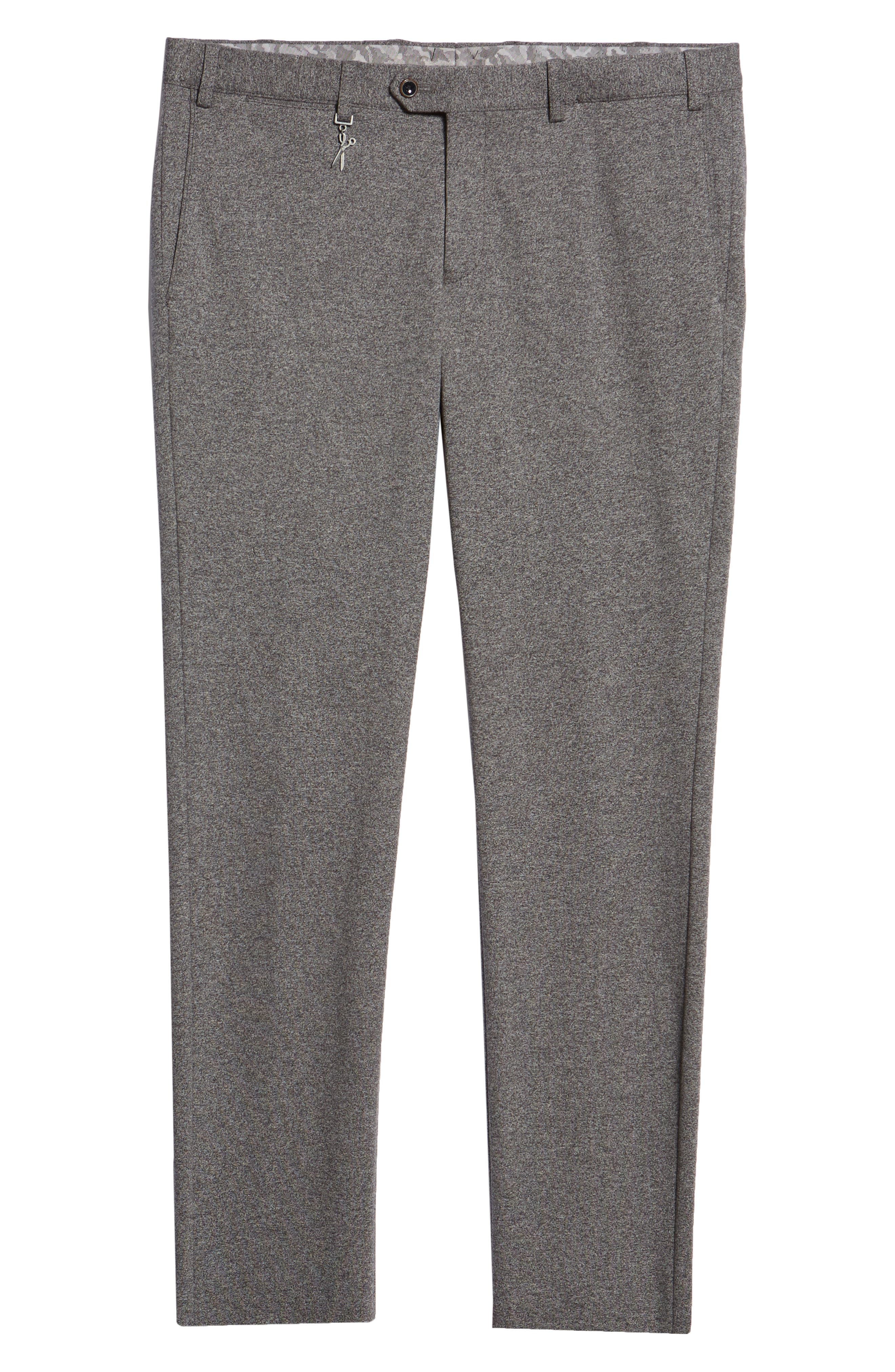 Tero Trim Fit Flat Front Solid Cotton Trousers,                             Alternate thumbnail 6, color,                             GREY