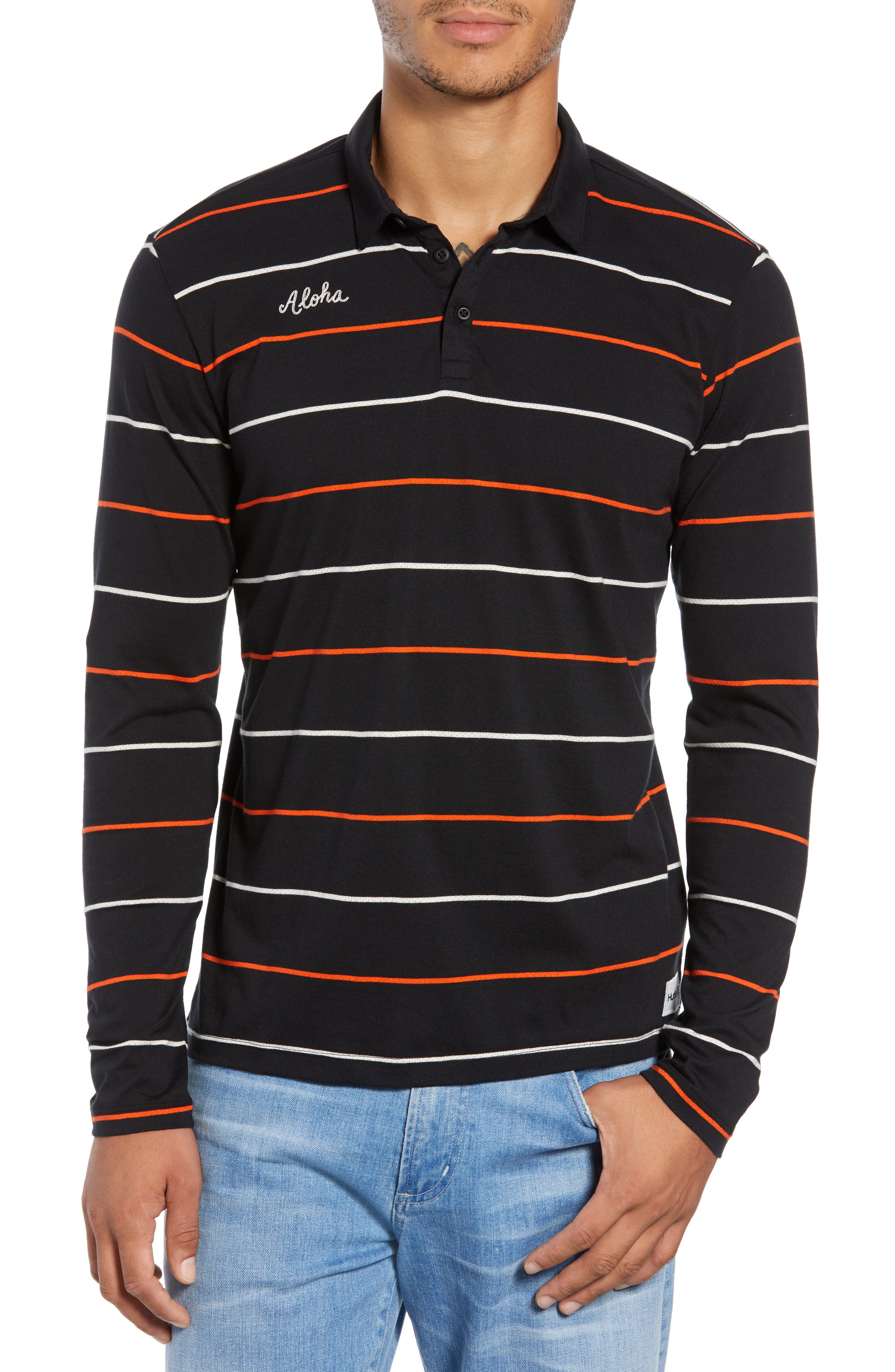 Channels Striped Long Sleeve Polo,                         Main,                         color, BLACK