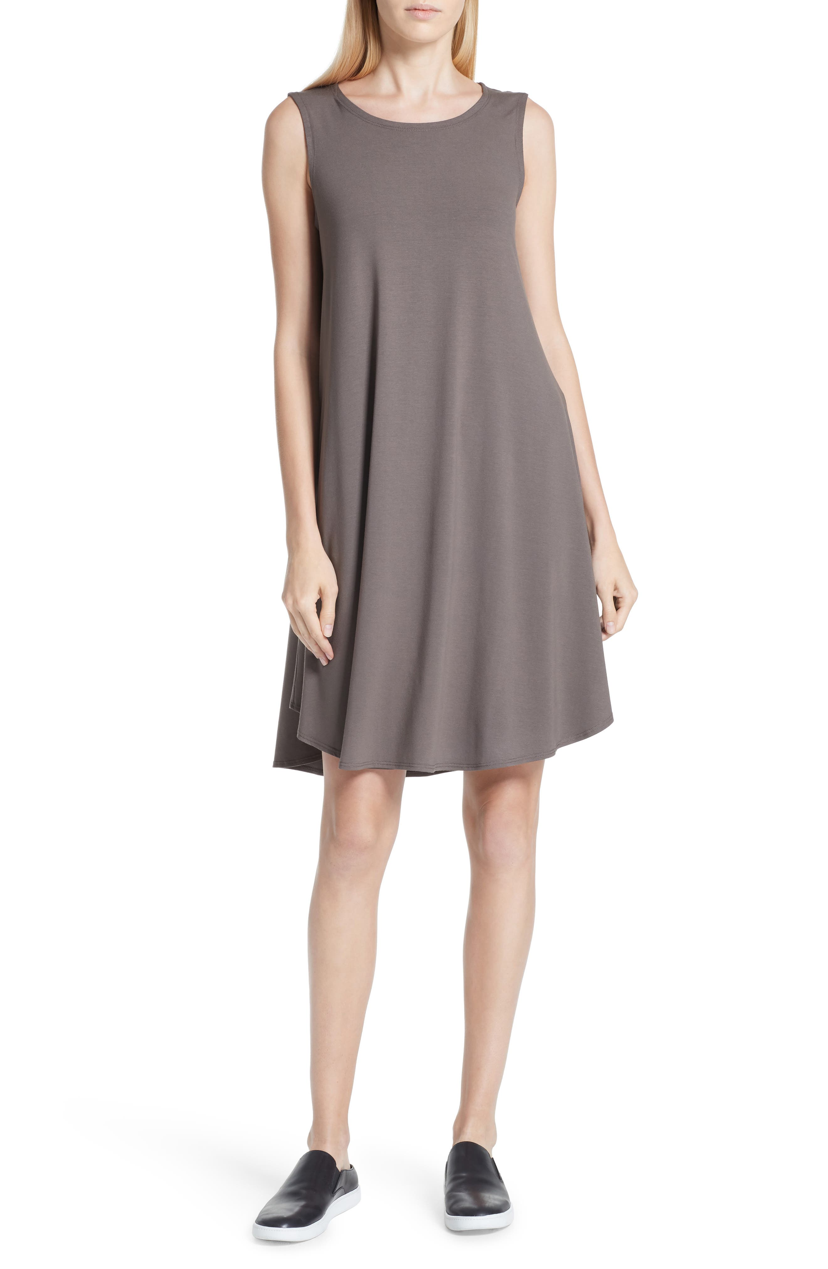 EILEEN FISHER,                             Jersey Jewel Neck Flare Dress,                             Main thumbnail 1, color,                             245