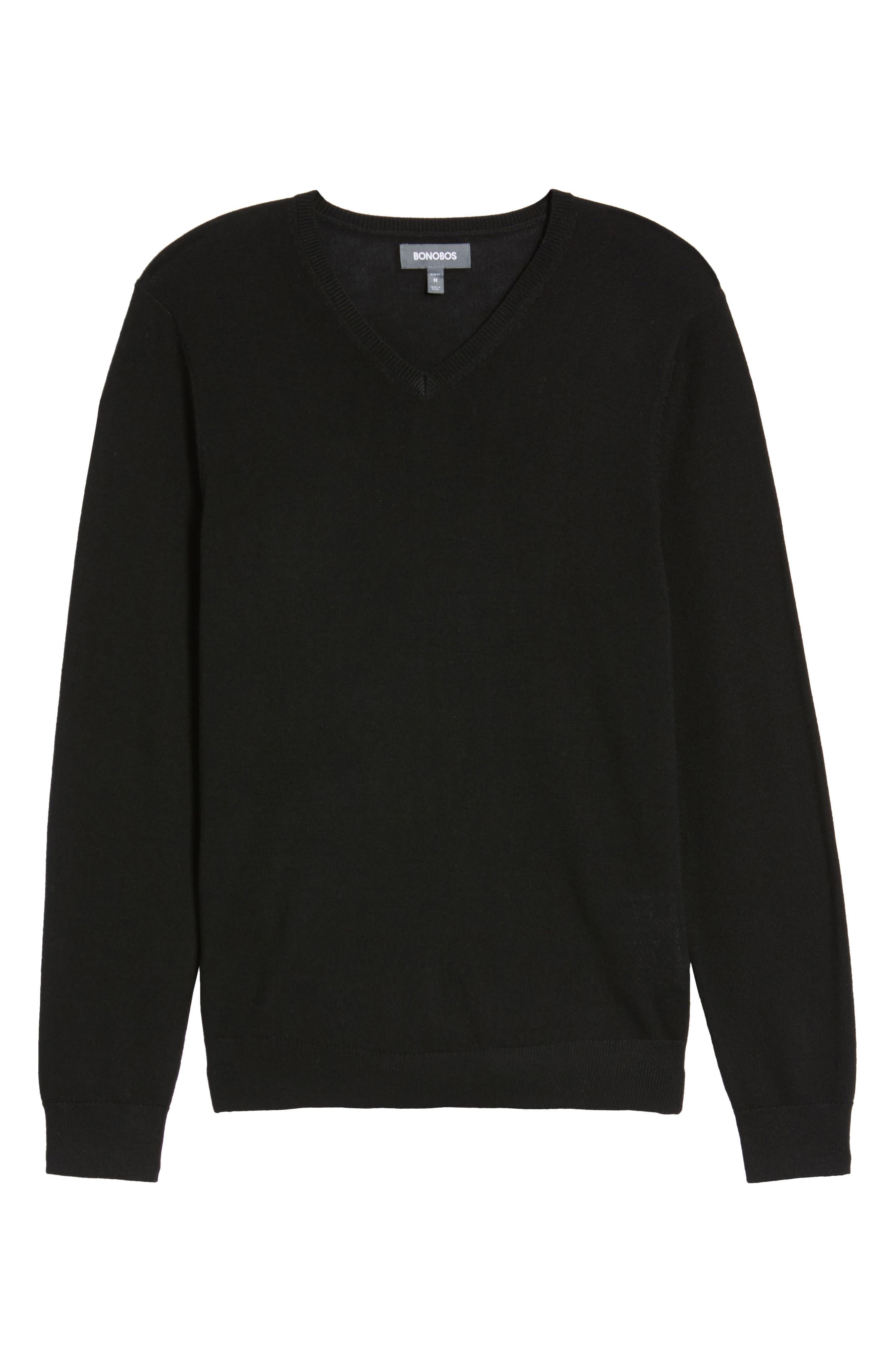 Merino V-Neck Sweater,                             Alternate thumbnail 6, color,                             001