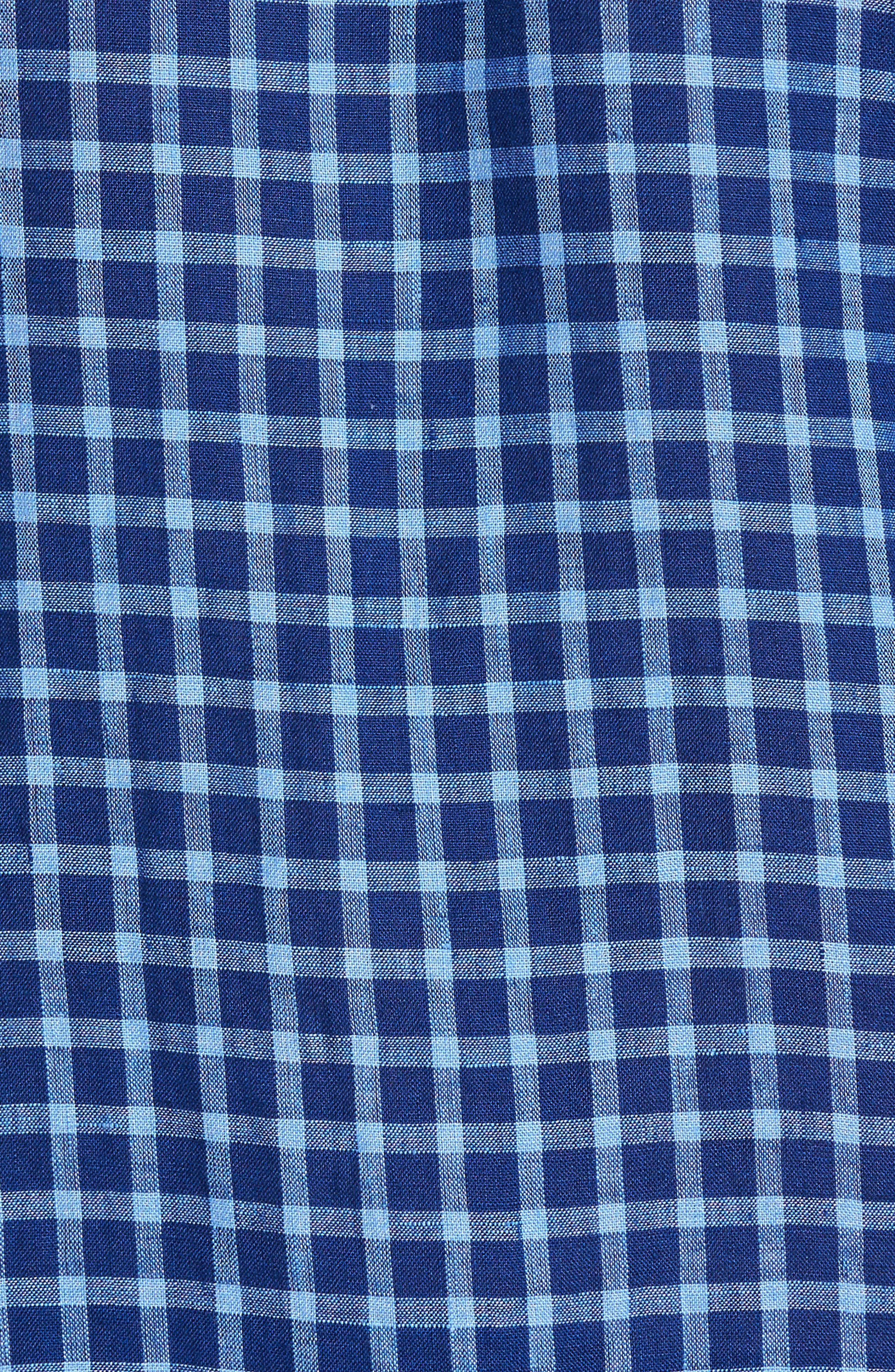 Ray Plaid Linen Sport Shirt,                             Alternate thumbnail 5, color,                             421