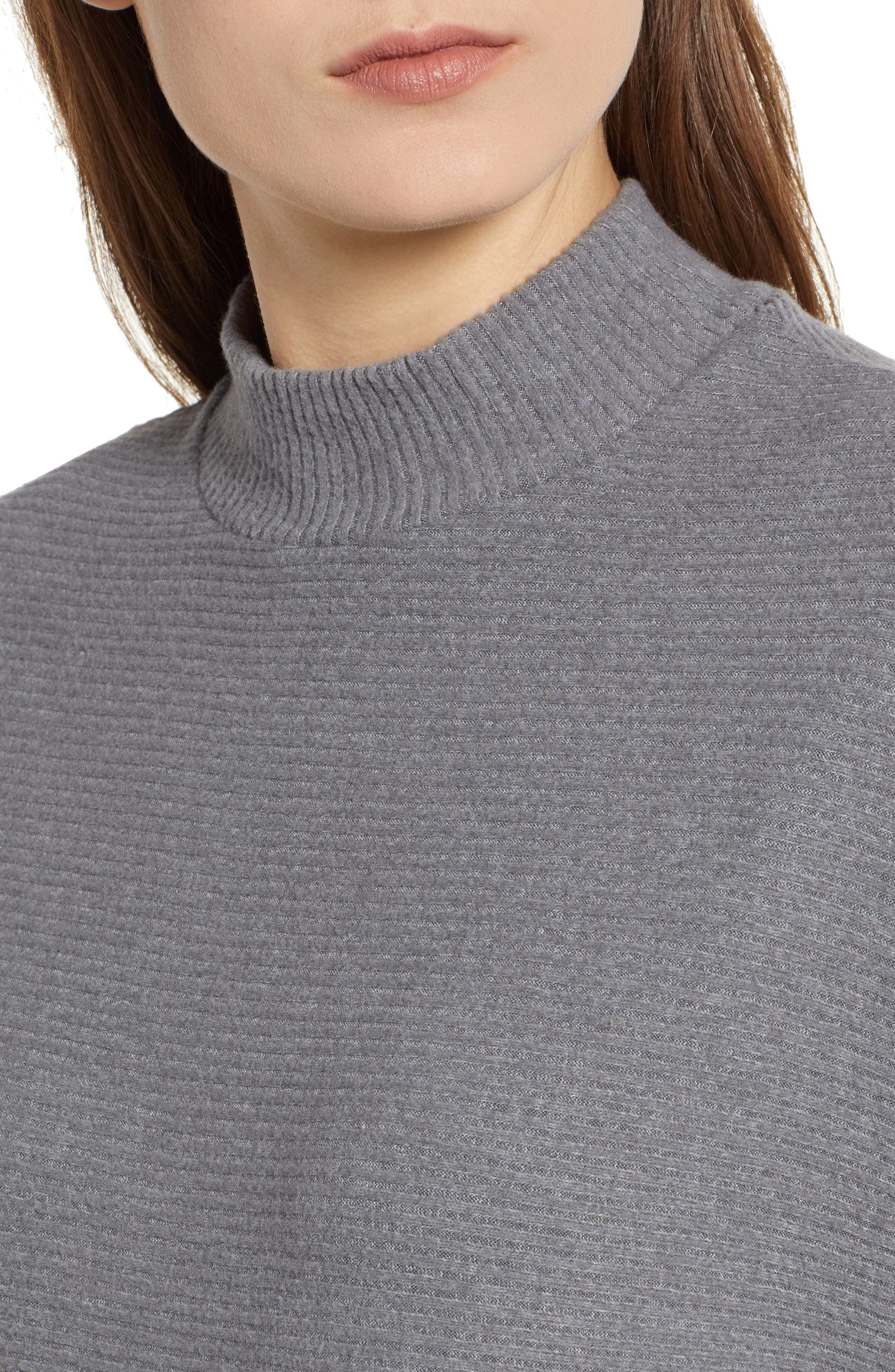 Dolman Sleeve Ribbed Top,                             Alternate thumbnail 4, color,                             GREY CLOUDY HEATHER