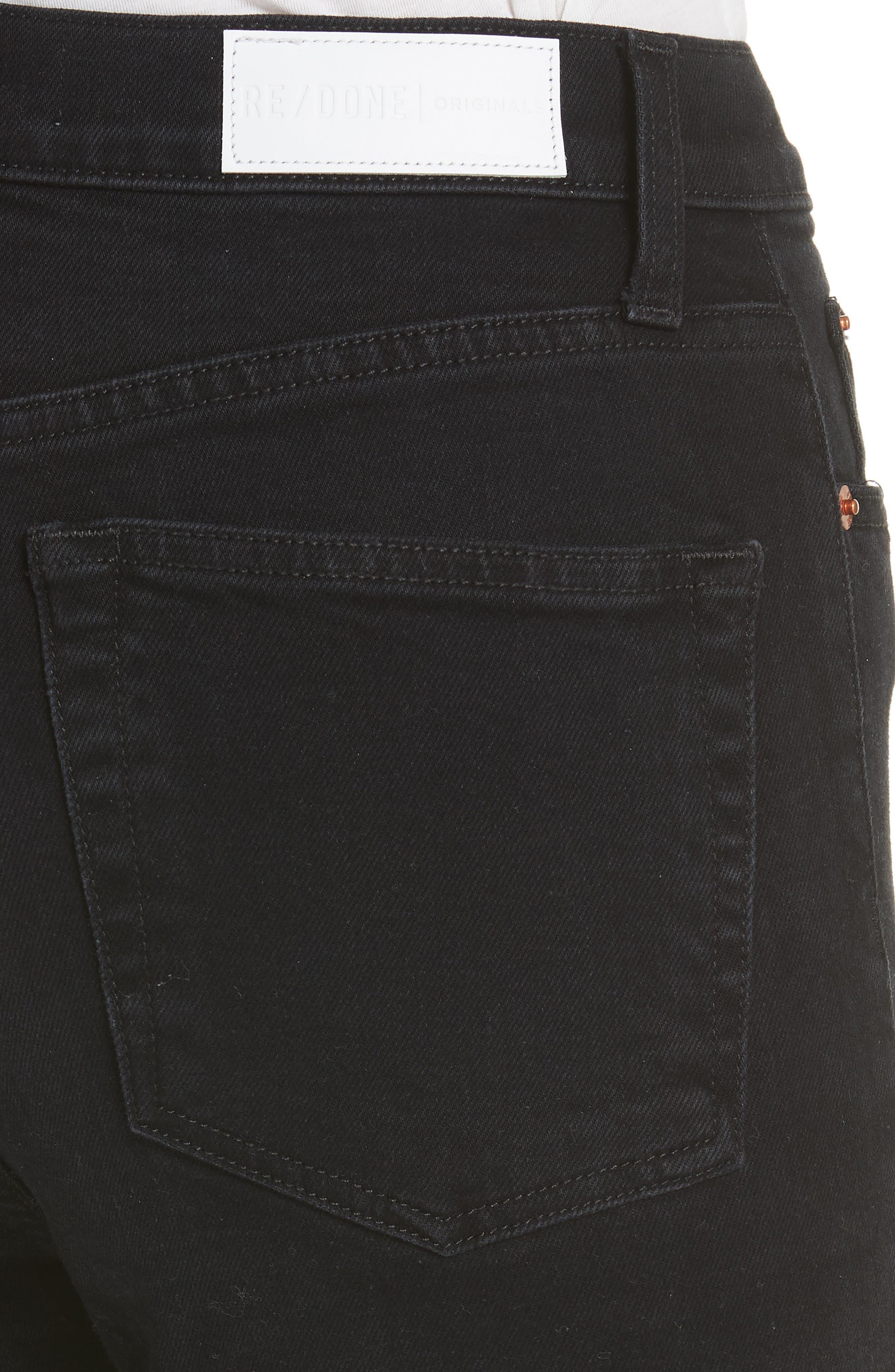 High Waist Stretch Ankle Jeans,                             Alternate thumbnail 4, color,                             BLACK DESTROY