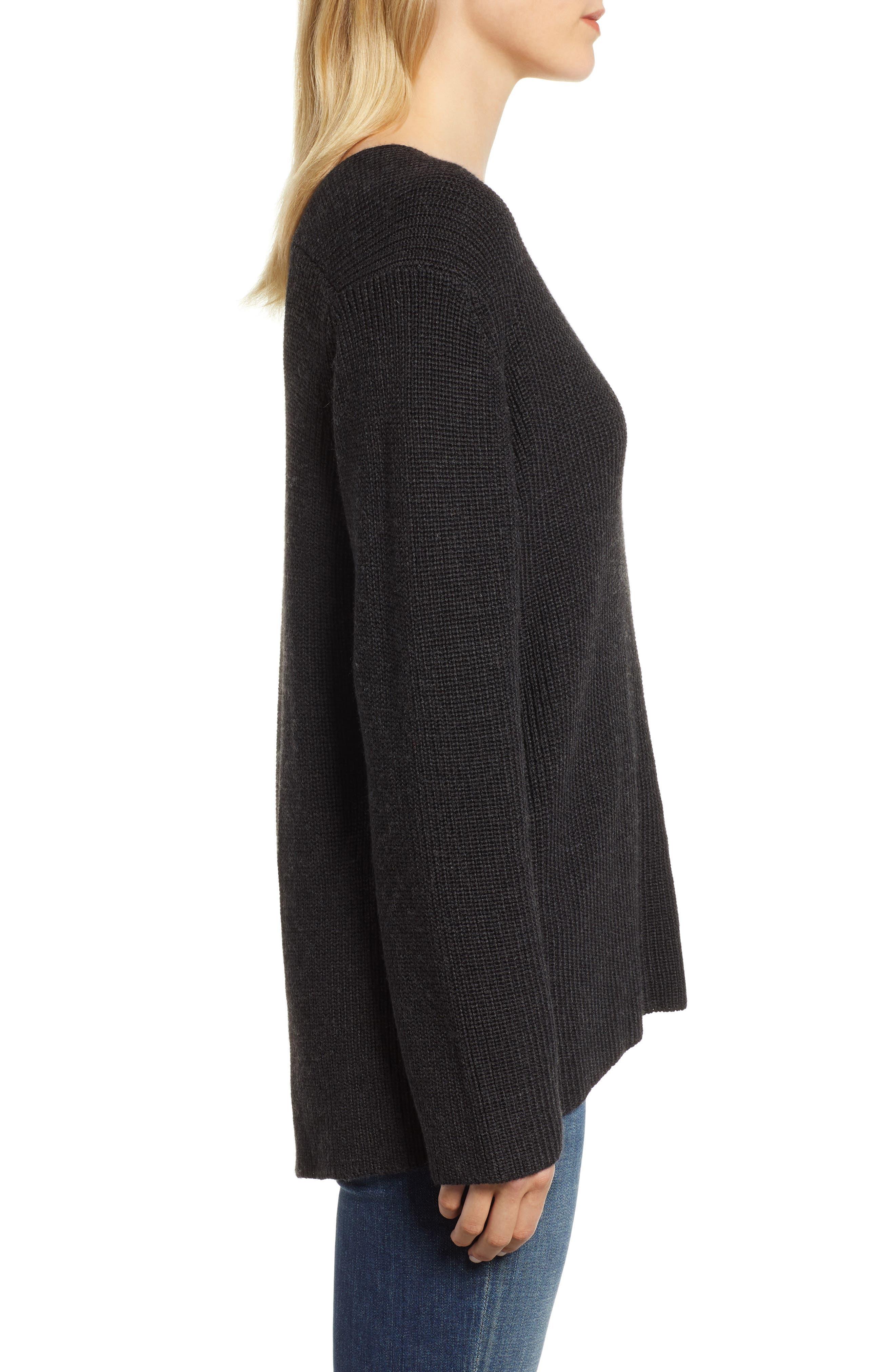 V-Neck Sweater,                             Alternate thumbnail 3, color,                             COAL