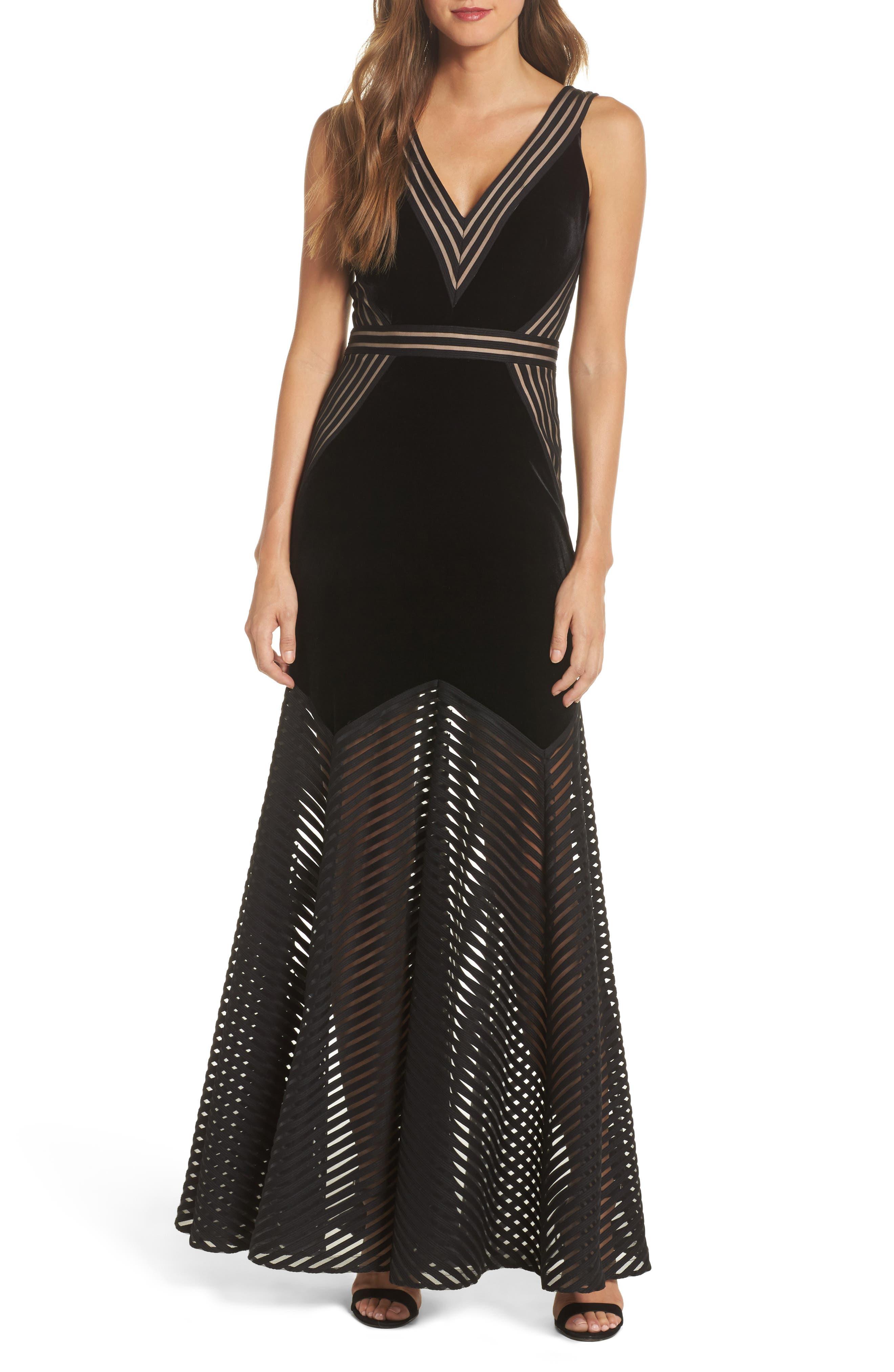 Illusion Inset Velvet Trumpet Gown,                         Main,                         color, BLACK