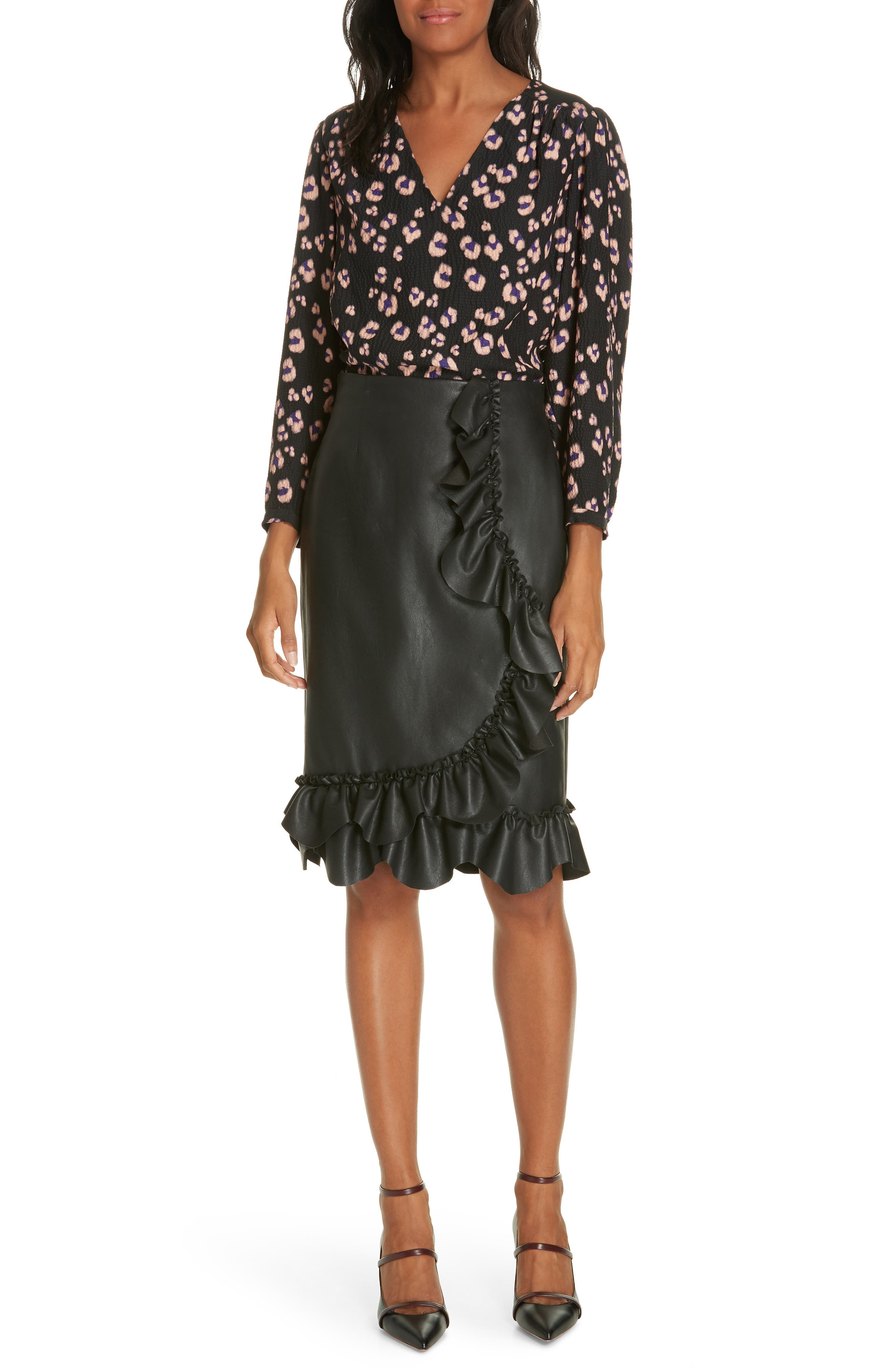 Faux Leather Ruffle Skirt,                             Alternate thumbnail 6, color,                             BLACK