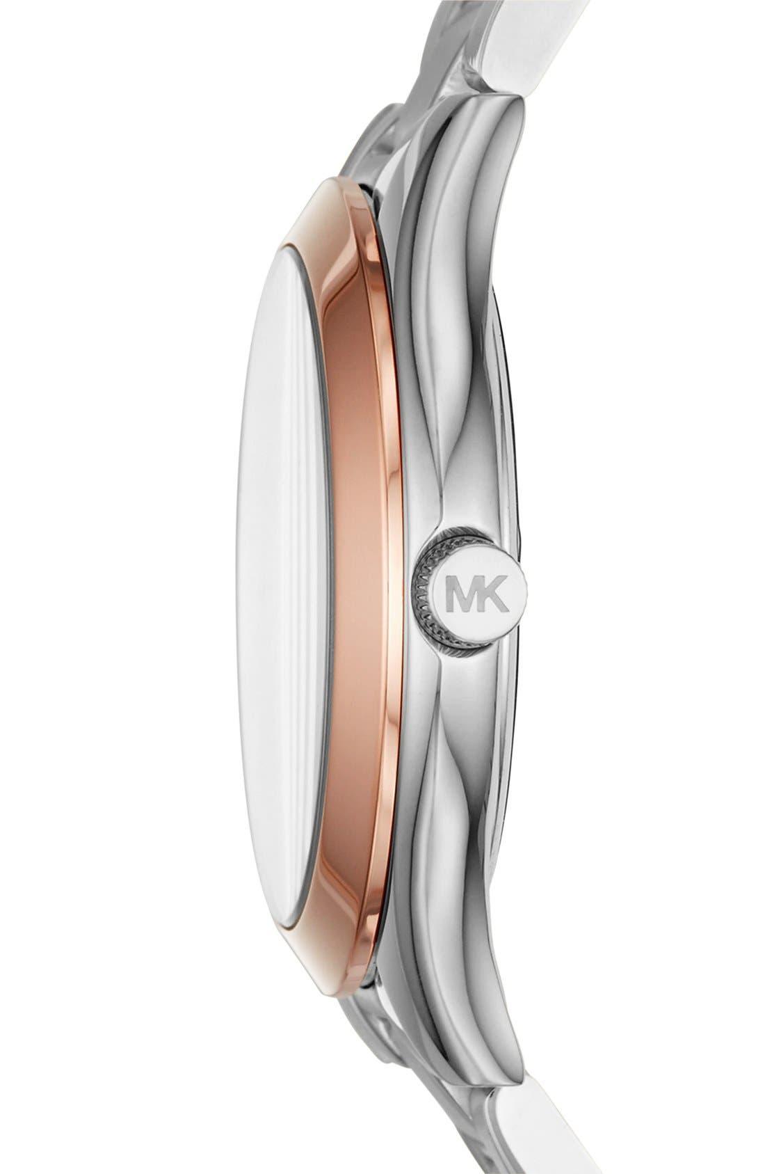 MICHAEL KORS,                             'Slim Runway' Bracelet Watch, 33mm,                             Alternate thumbnail 2, color,                             040