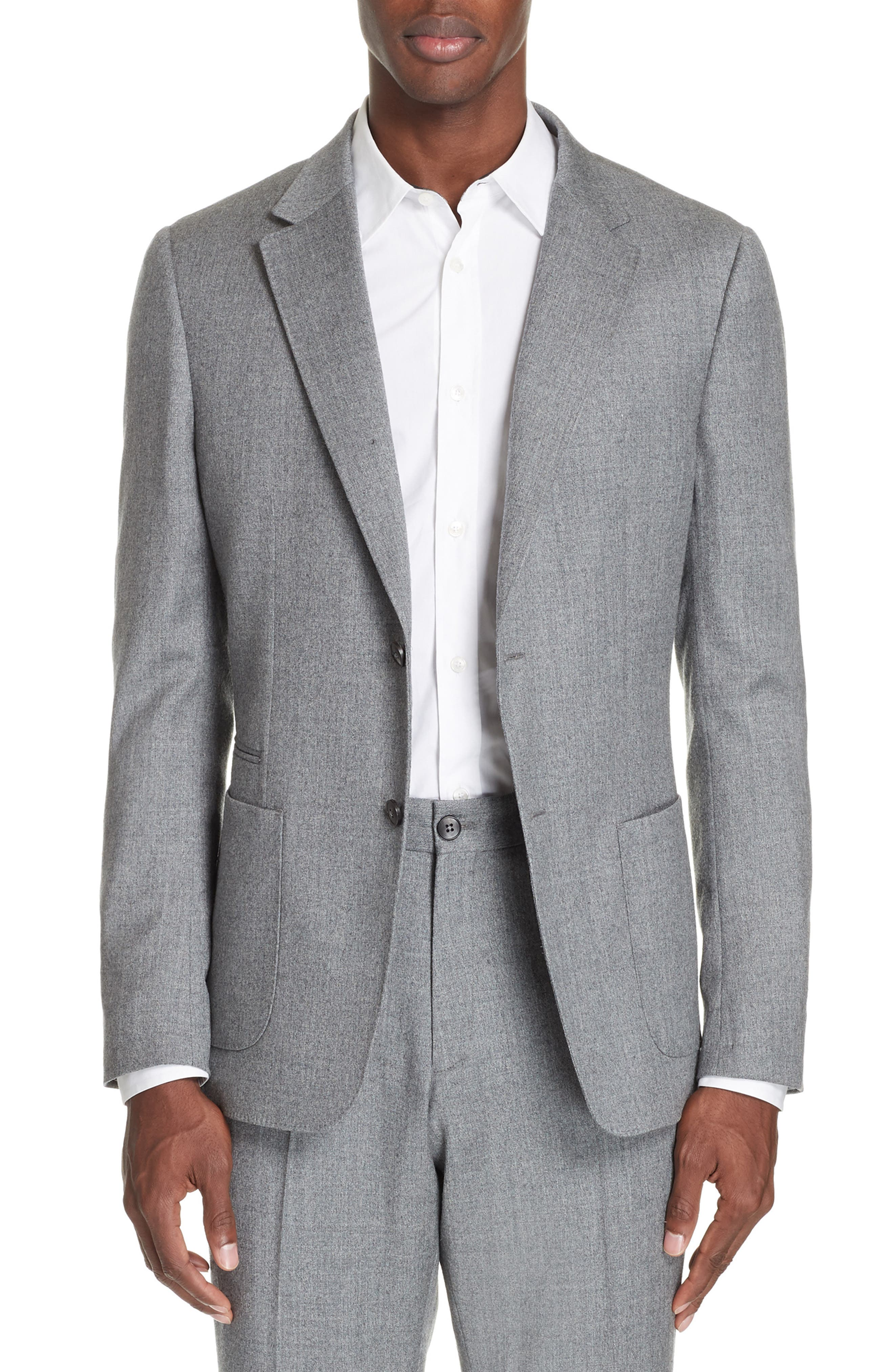 Wash and Go Trim Fit Solid Wool Suit,                             Alternate thumbnail 5, color,                             SILVER