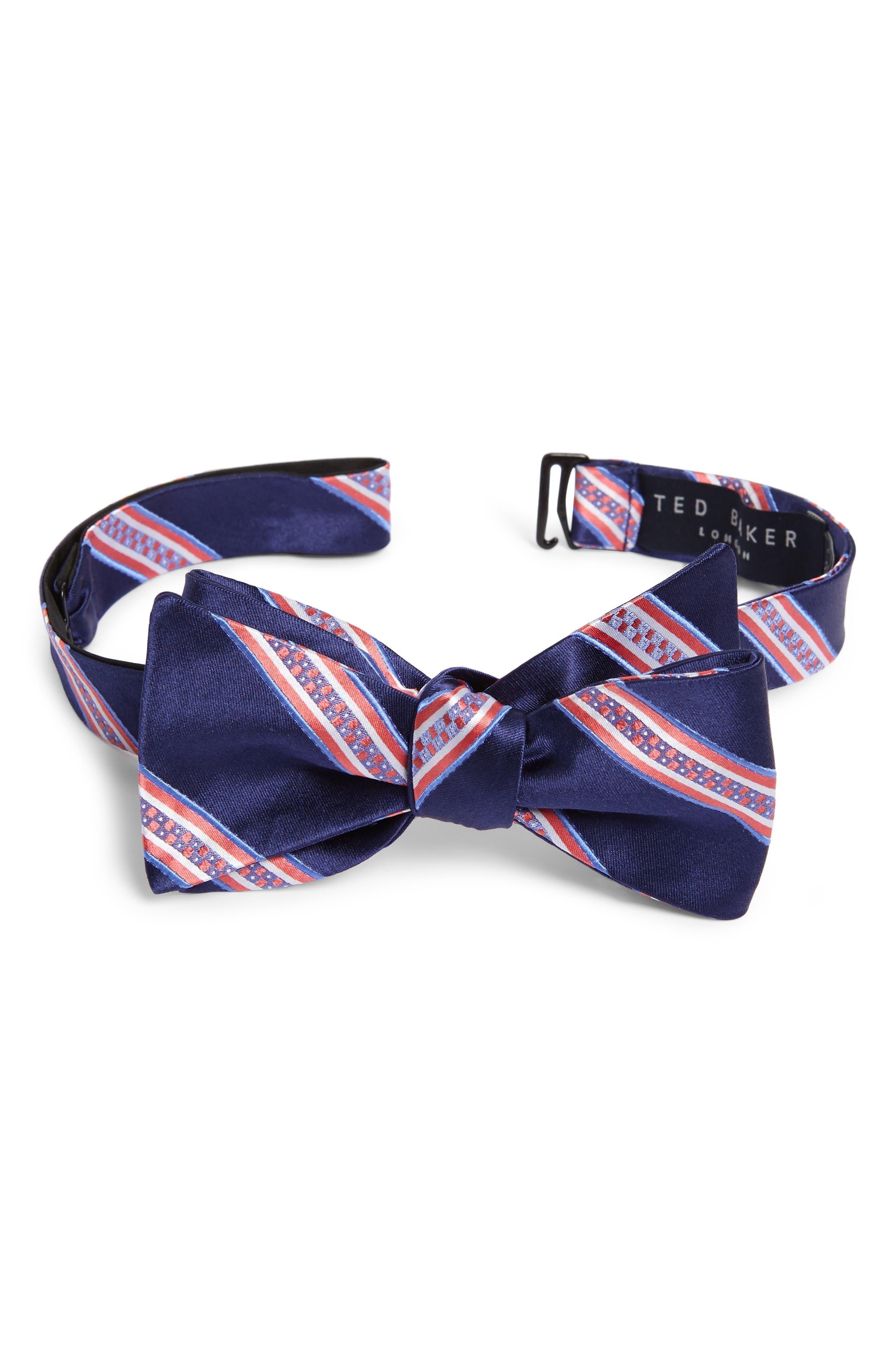 Stripe Silk Bow Tie,                         Main,                         color, 411