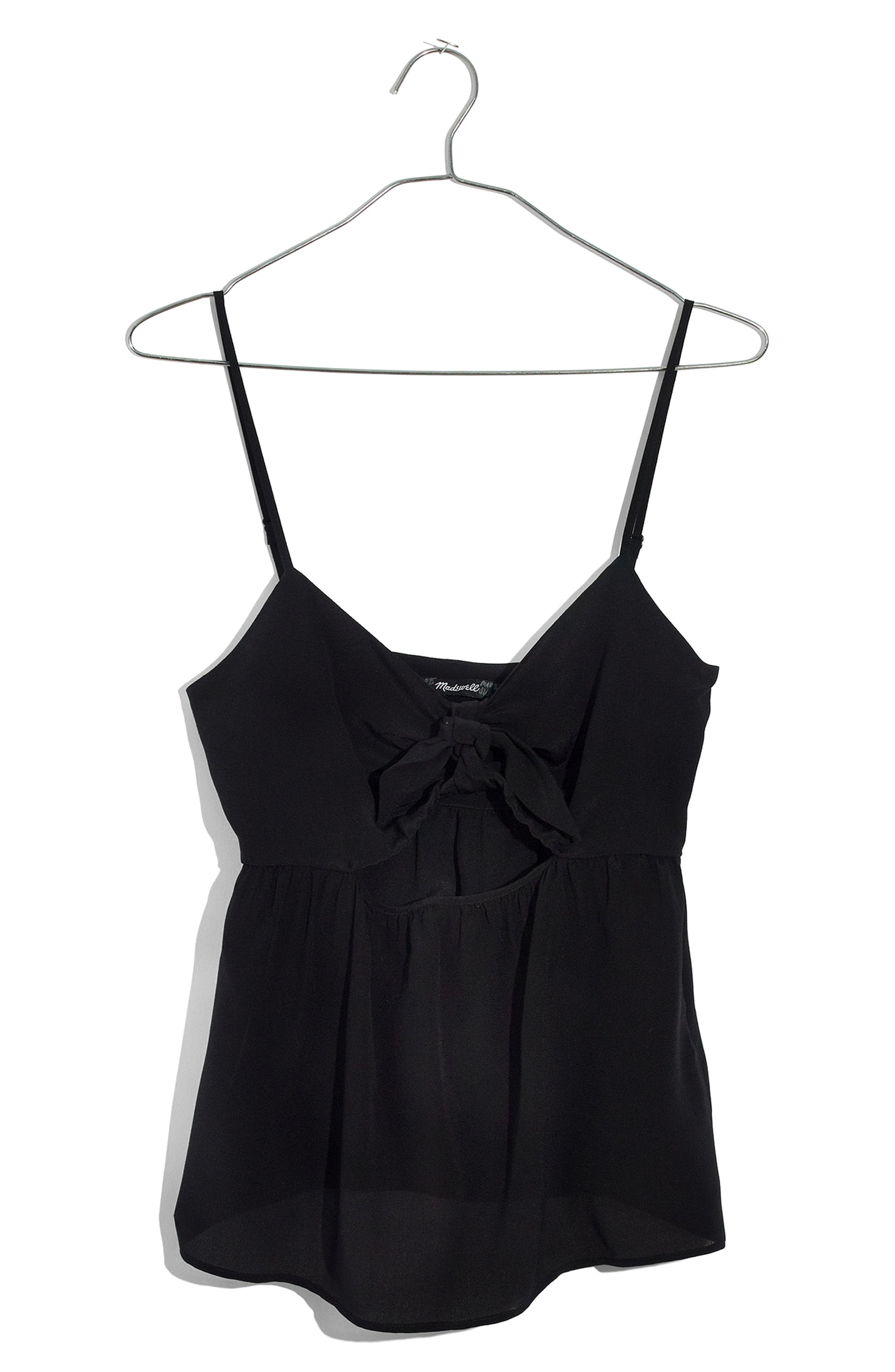 Tie Front Keyhole Silk Camisole,                             Main thumbnail 1, color,                             TRUE BLACK