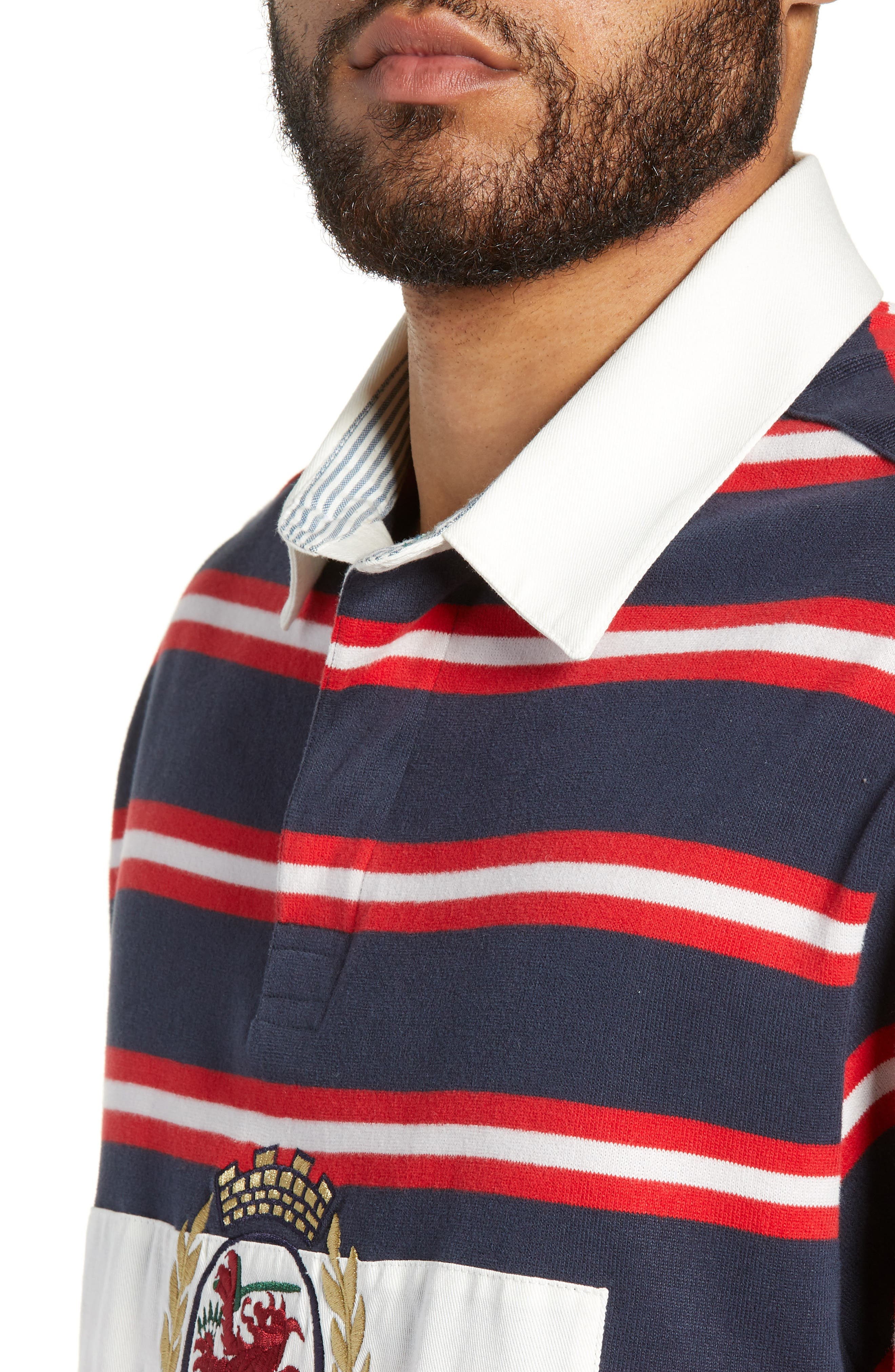 Crest Stripe Rugby Polo,                             Alternate thumbnail 4, color,                             DARK SAPPHIRE / MULTI