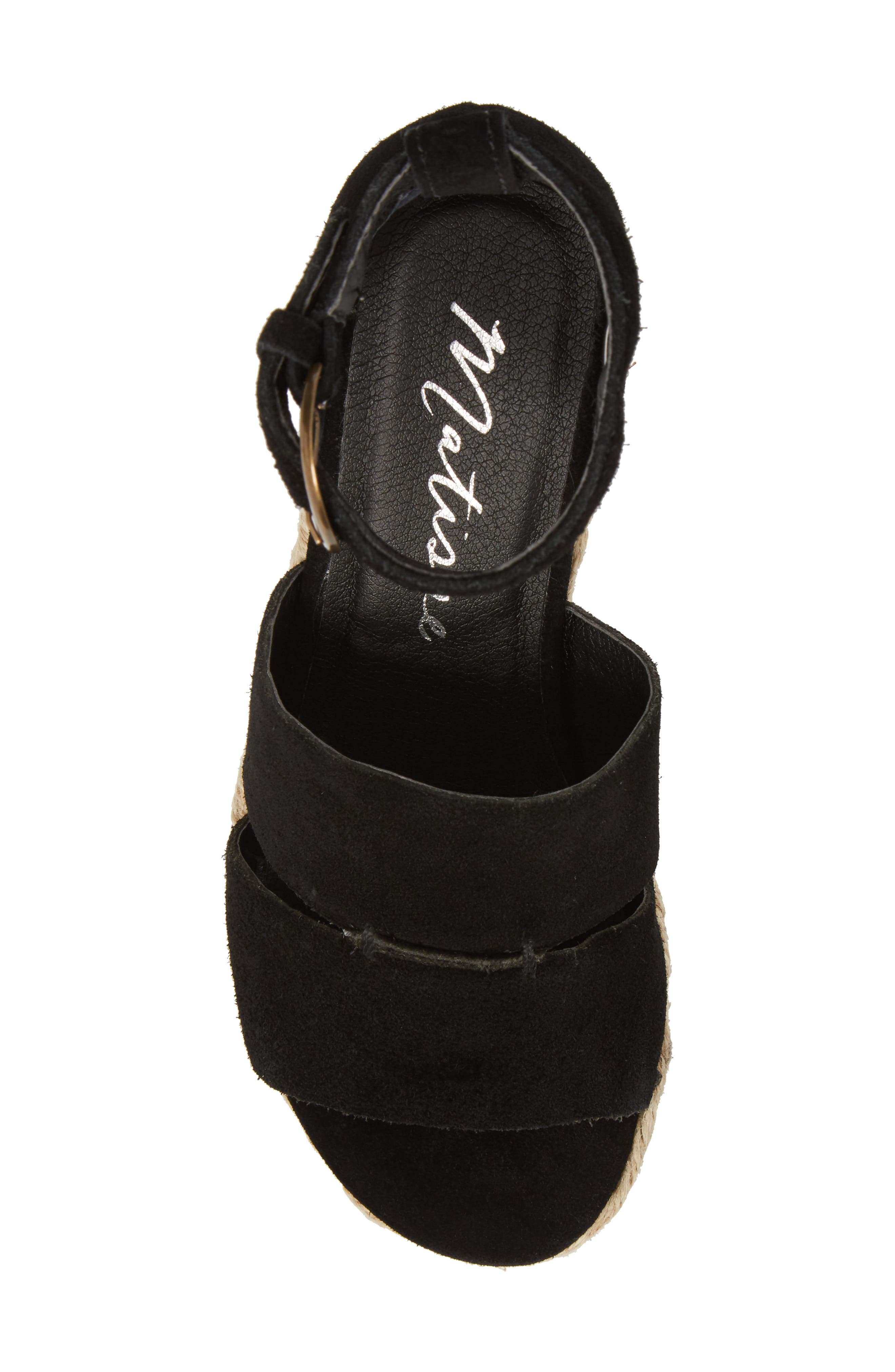 Cha Cha Espadrille Wedge Sandal,                             Alternate thumbnail 5, color,                             BLACK SUEDE