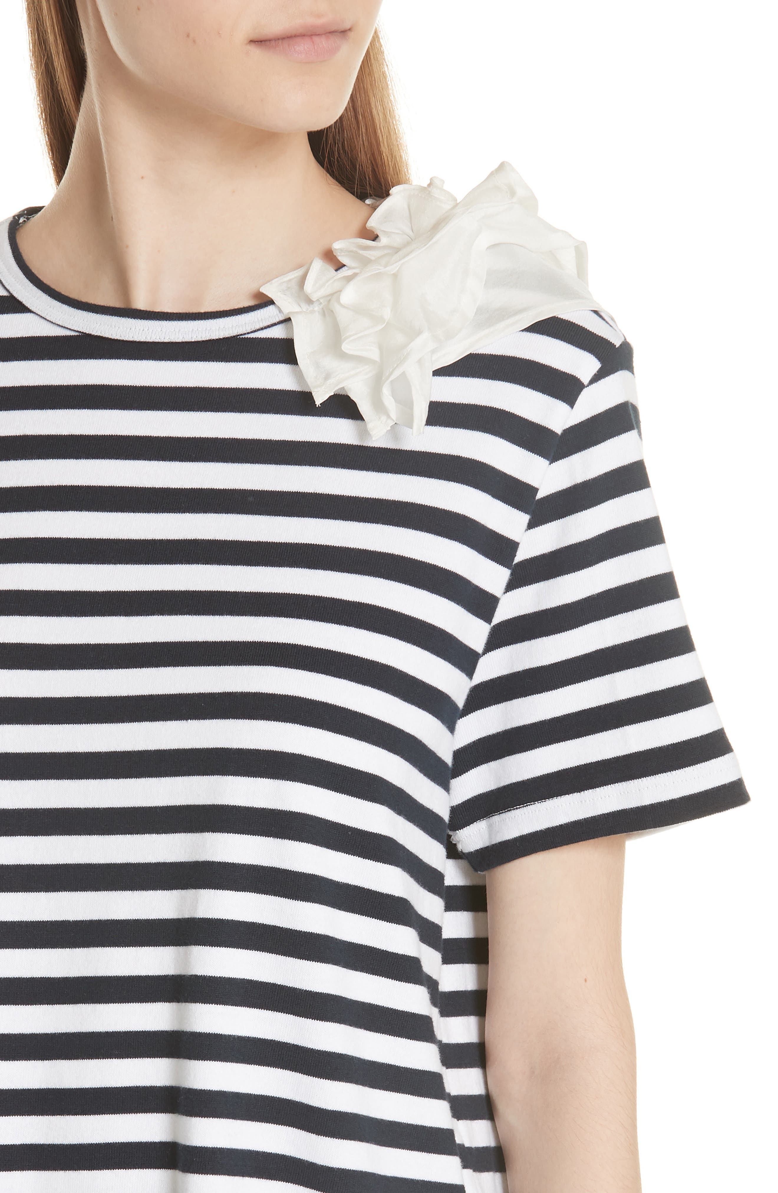 Ruffle Trim Stripe Top,                             Alternate thumbnail 4, color,                             NAVY