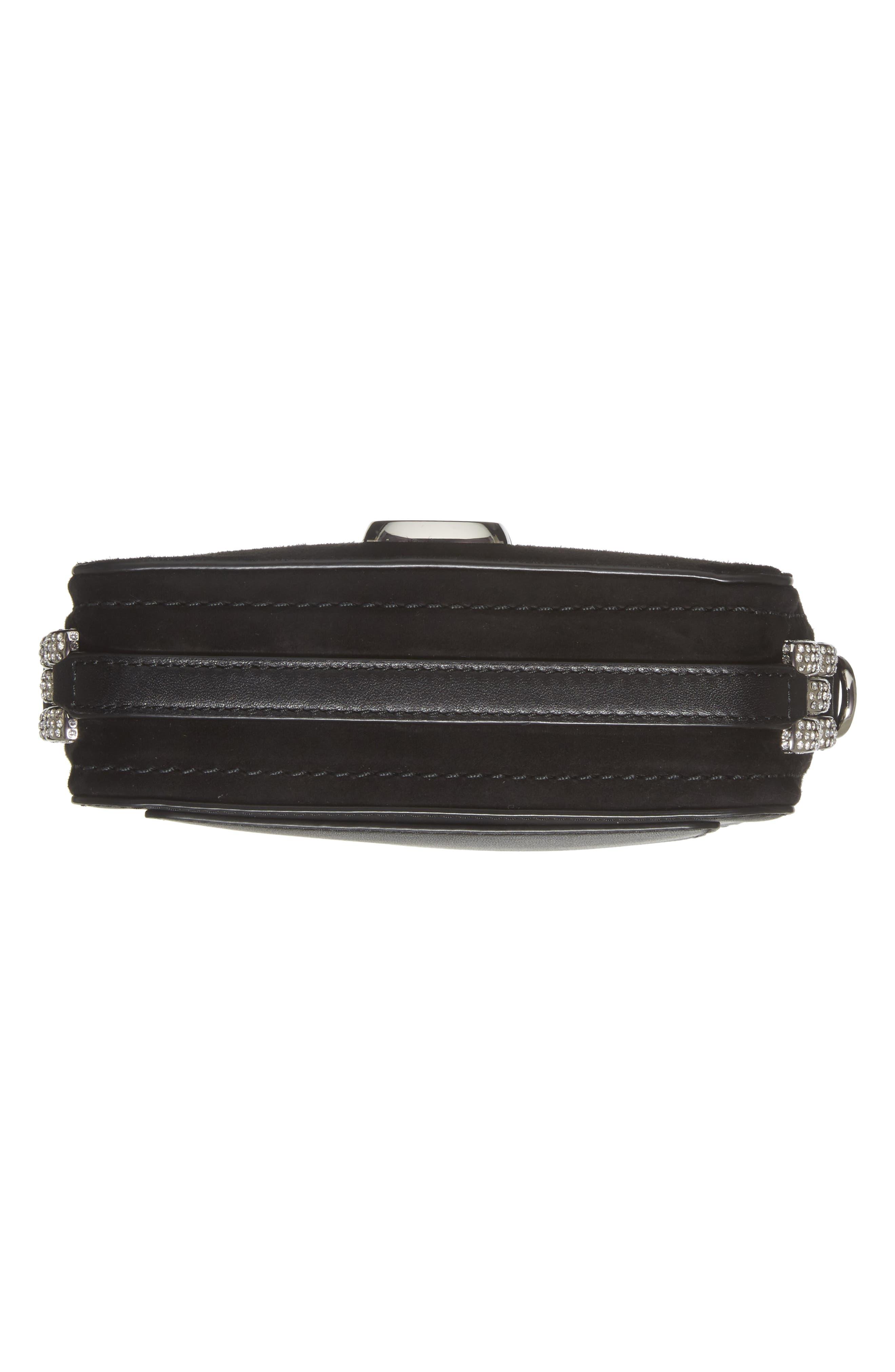 Snapshot Leather Pavé Chain Trim Crossbody Bag,                             Alternate thumbnail 6, color,                             001