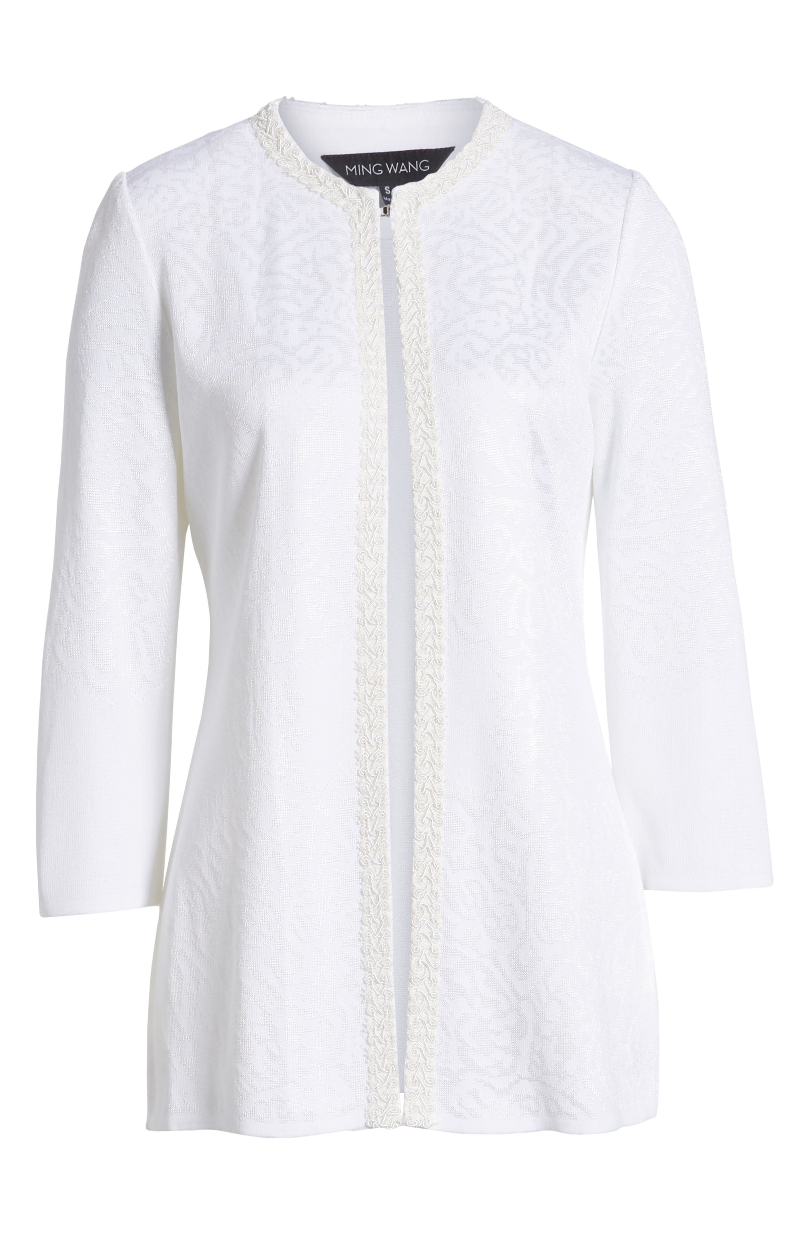 Floral Jacquard Jacket,                             Alternate thumbnail 5, color,                             WHITE