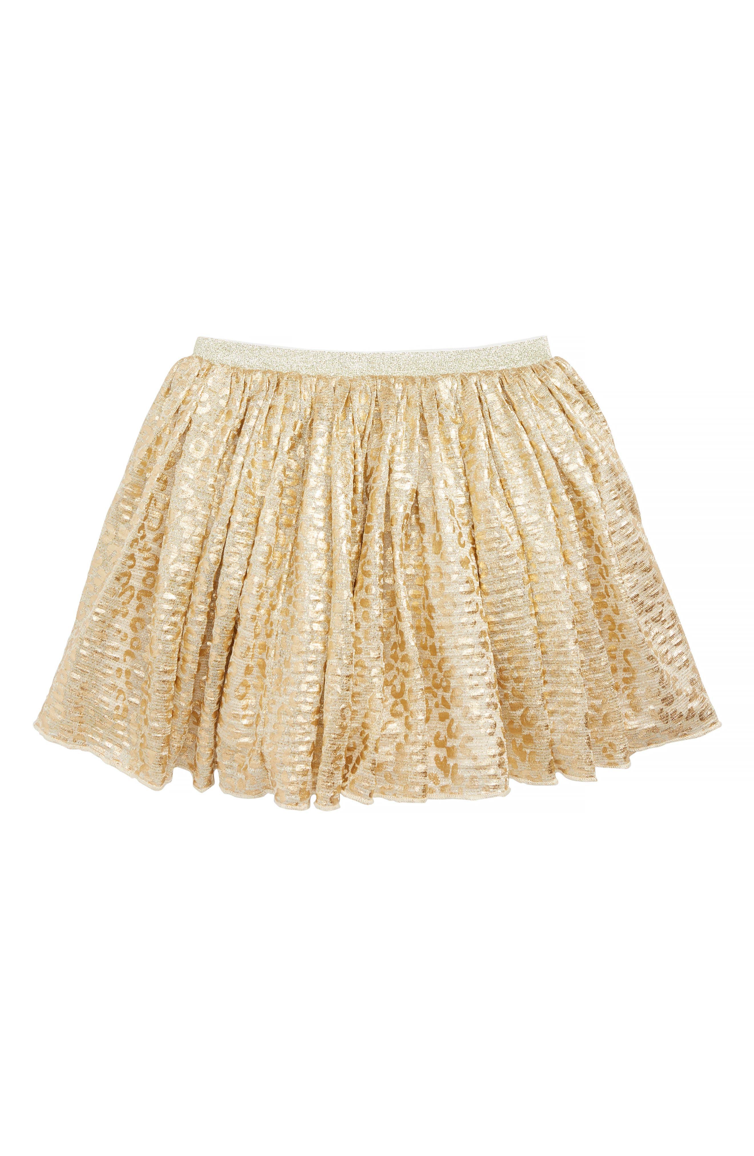 Girls Peek Felicity Shimmer Leopard Print Skirt