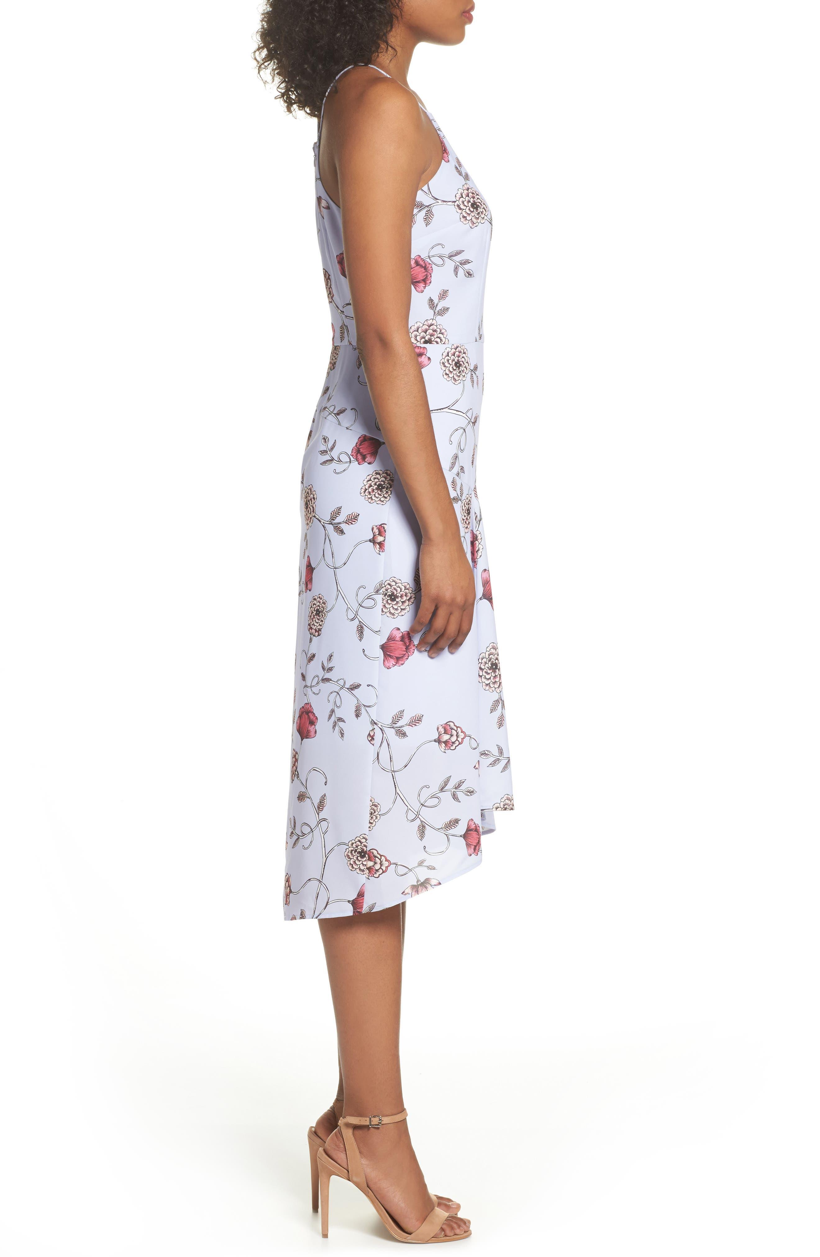 Floral High/Low Midi Dress,                             Alternate thumbnail 3, color,                             510