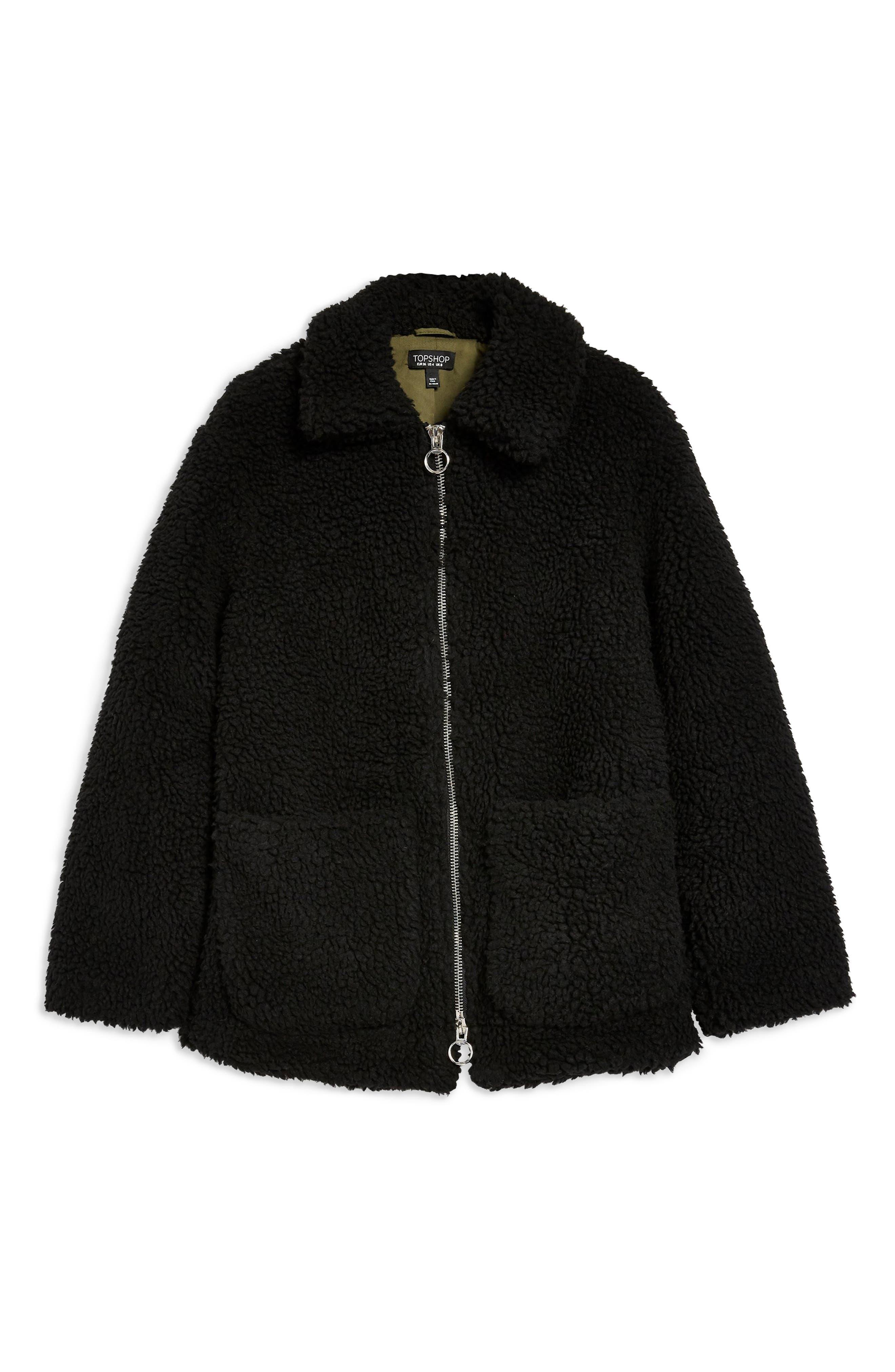Borg Jacket,                             Alternate thumbnail 6, color,                             BLACK