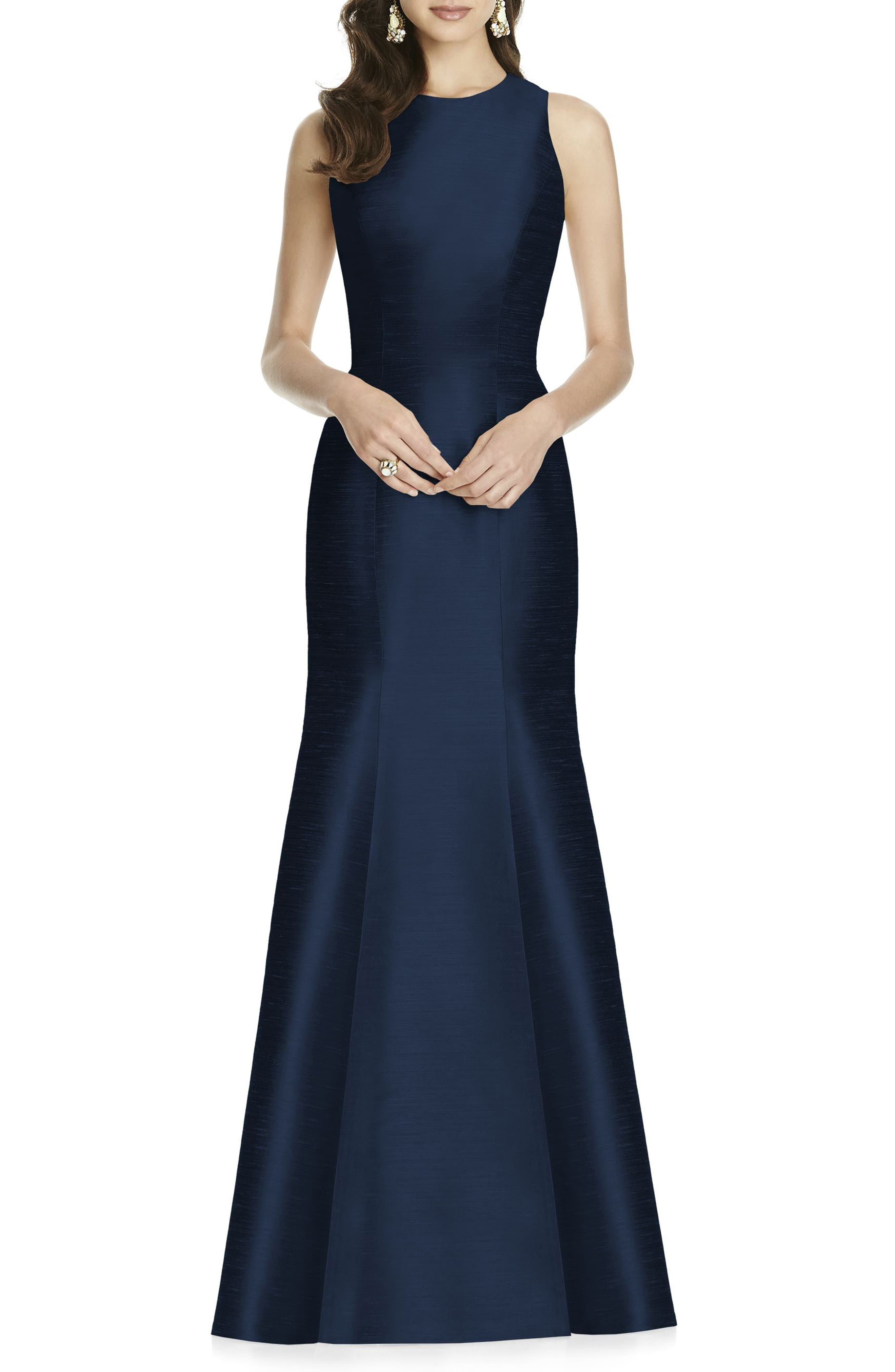 Alfred Sung Dupioni Trumpet Gown, Blue