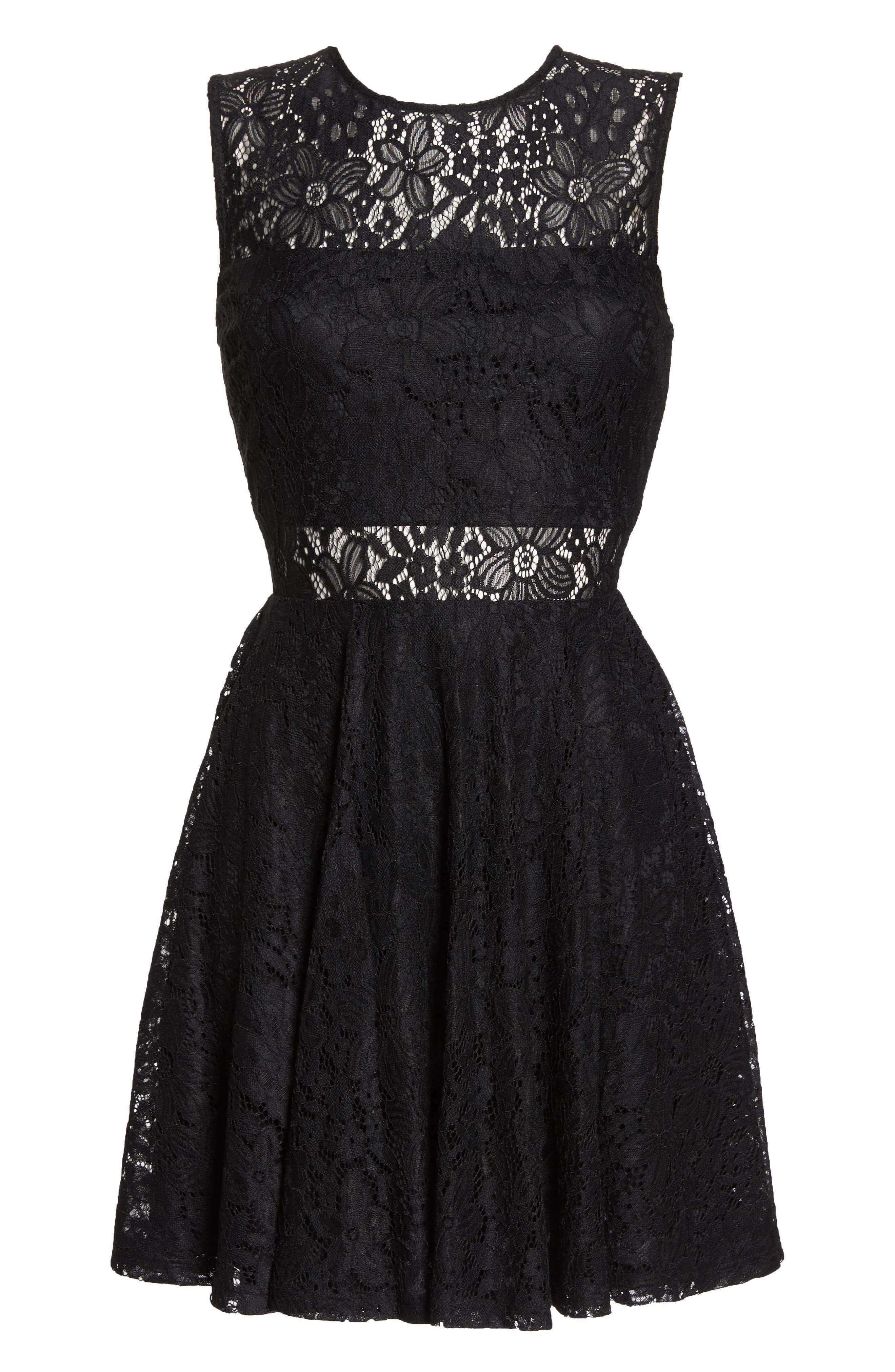 Lace Skater Dress,                             Alternate thumbnail 7, color,                             BLACK