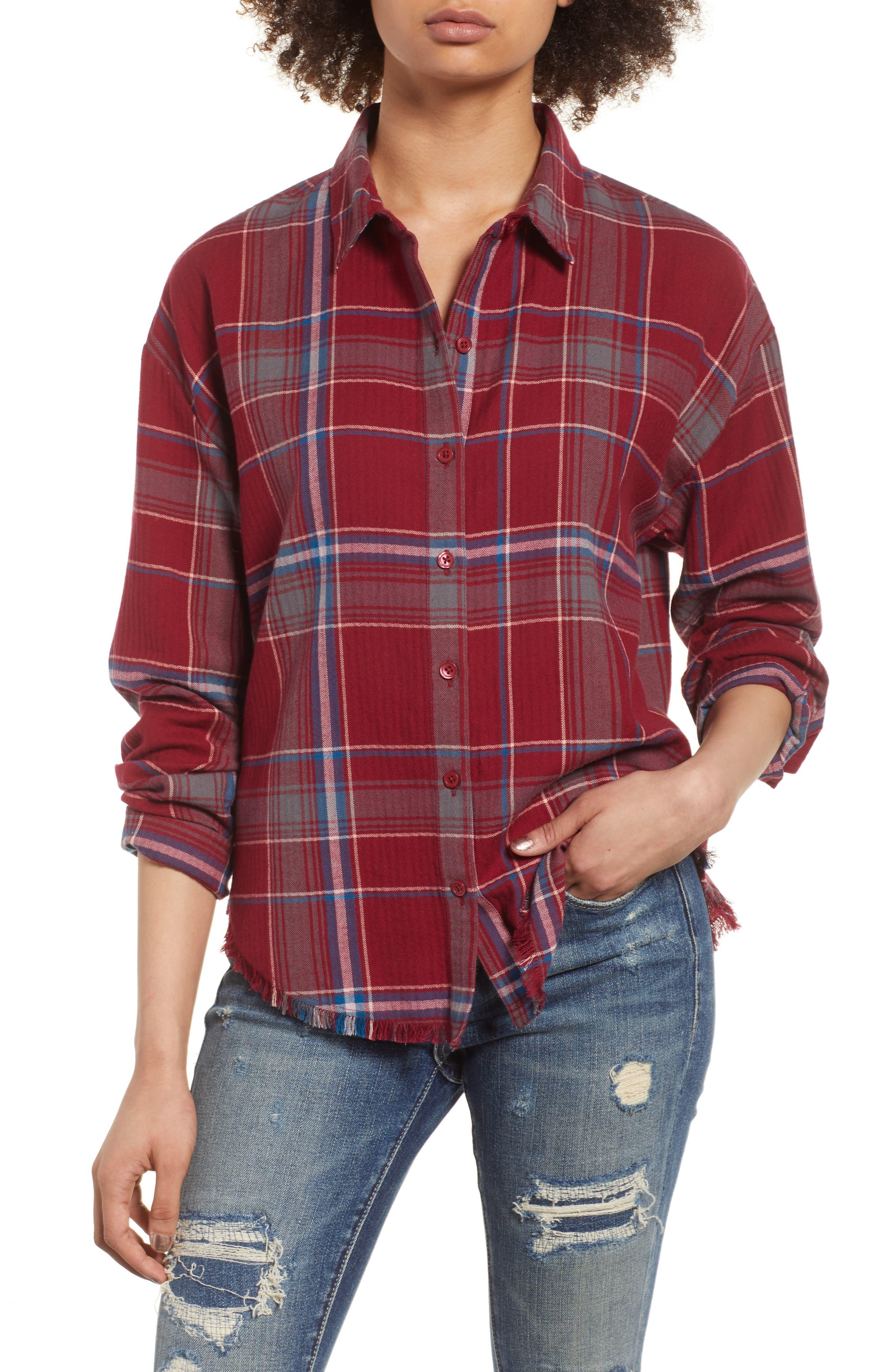Frayed Edge Plaid Shirt,                             Main thumbnail 1, color,                             RED RUMBA NICOLE PLAID