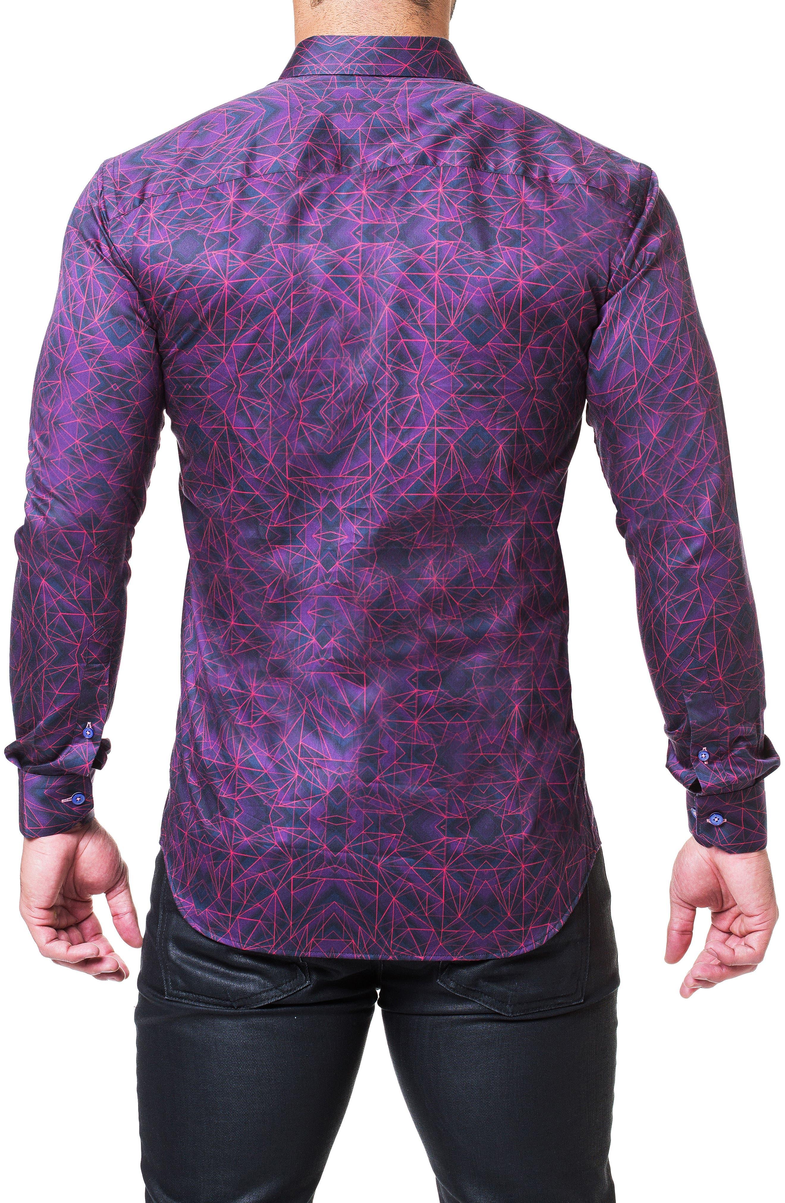 Fibonacci Tunnel Print Sport Shirt,                             Alternate thumbnail 2, color,                             PURPLE