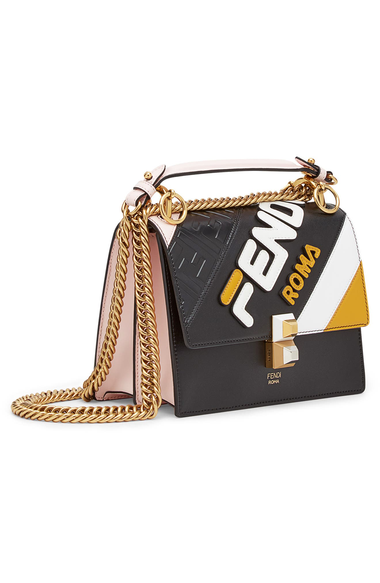 x FILA Small Kan I Mania Logo Shoulder Bag,                             Alternate thumbnail 4, color,                             NERO/ CONFETTO MULTI