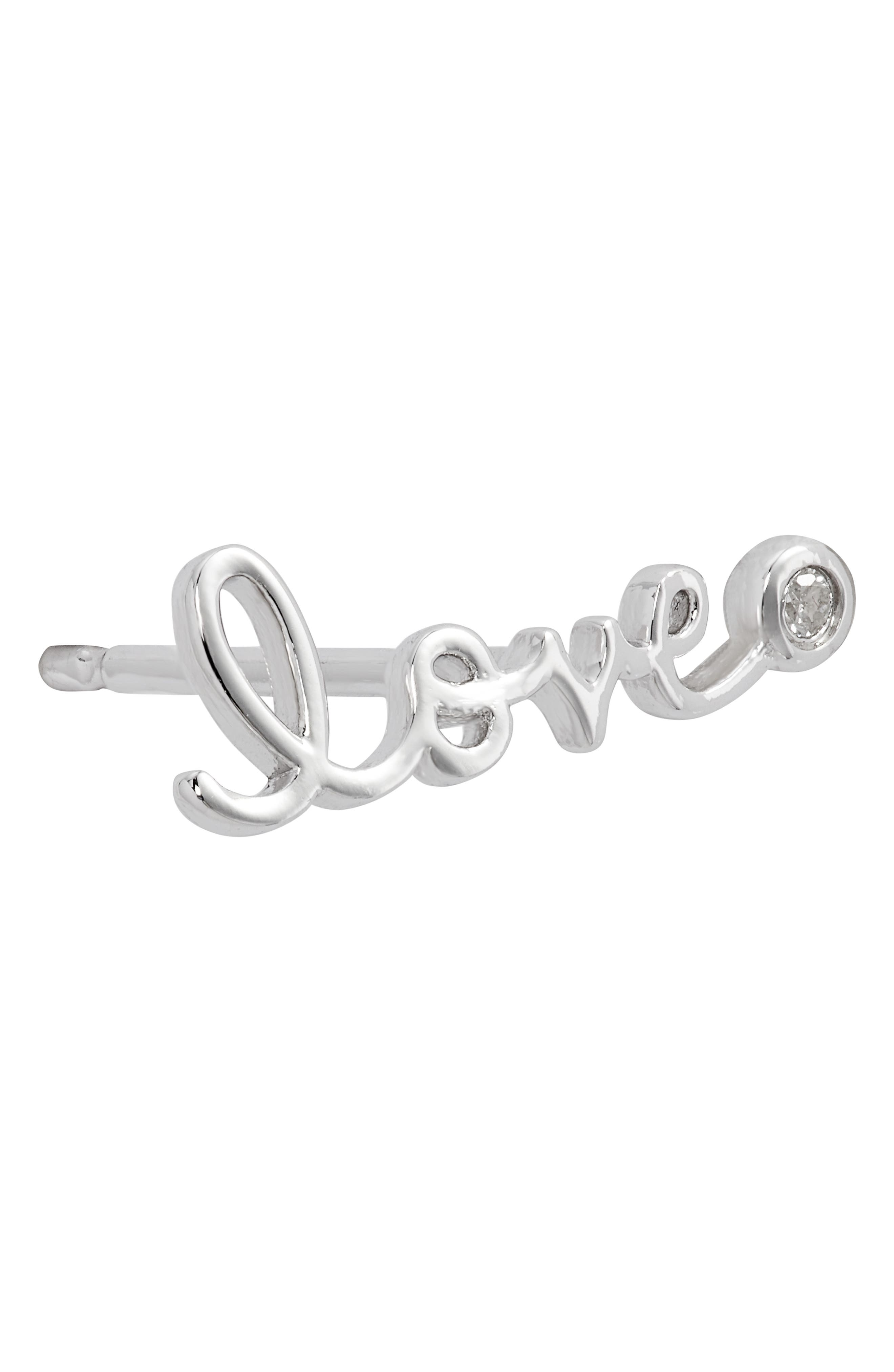 Love Diamond Stud Earrings,                             Alternate thumbnail 6, color,                             SILVER