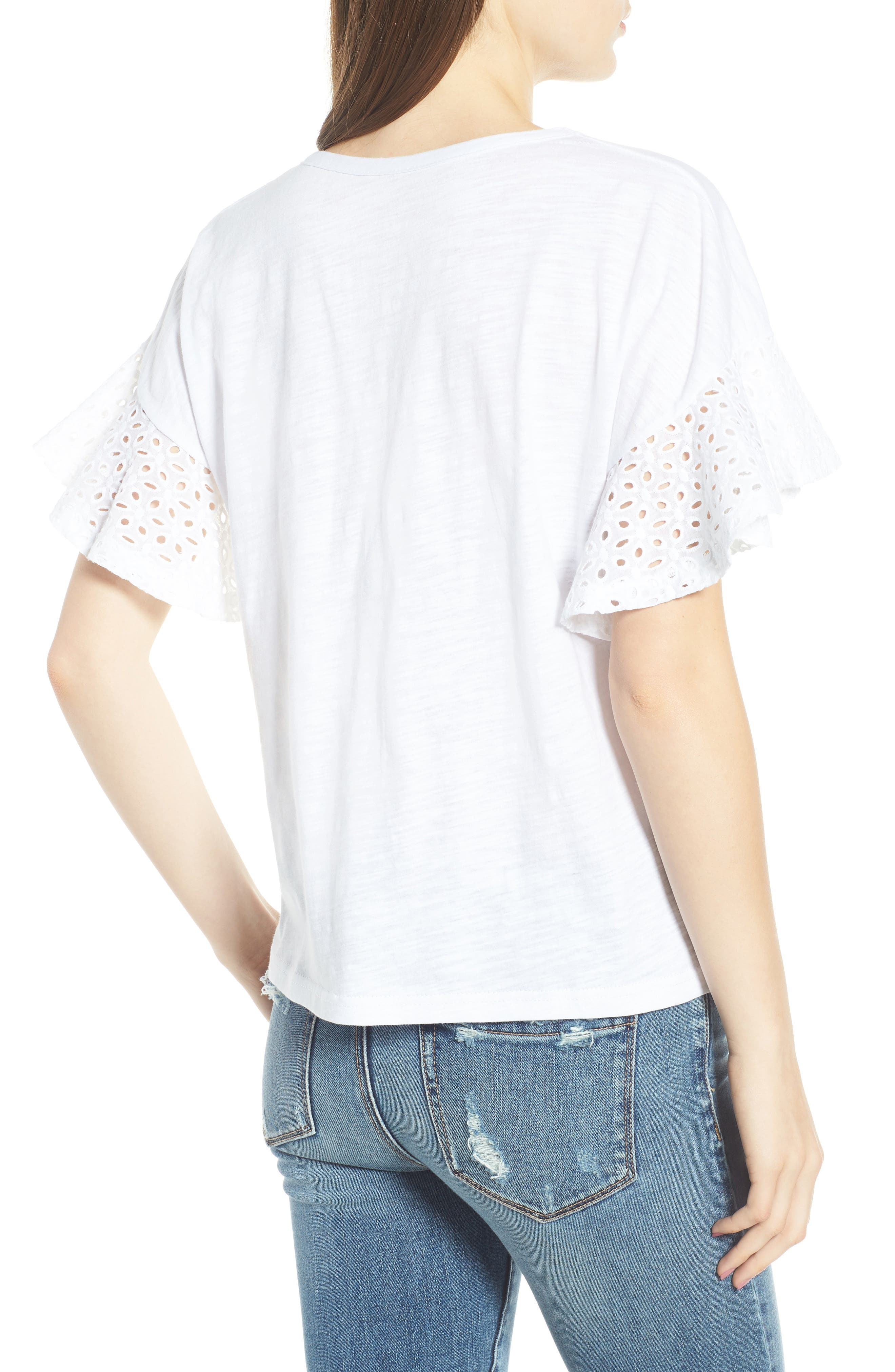 Eyelet Sleeve Burnout Tee,                             Alternate thumbnail 2, color,                             100