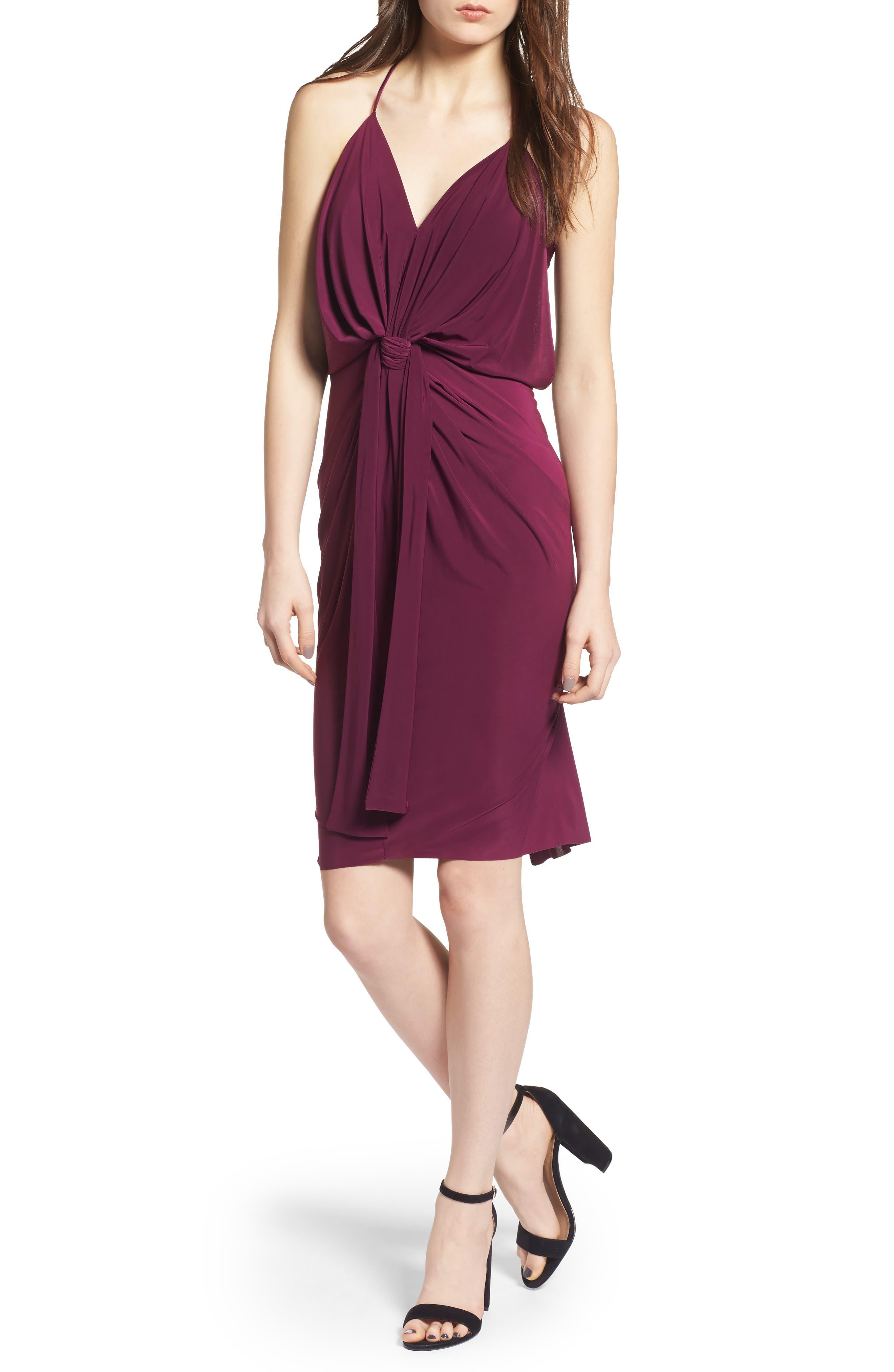 MISA Domino Slinky Jersey Midi Cocktail Dress in Magenta