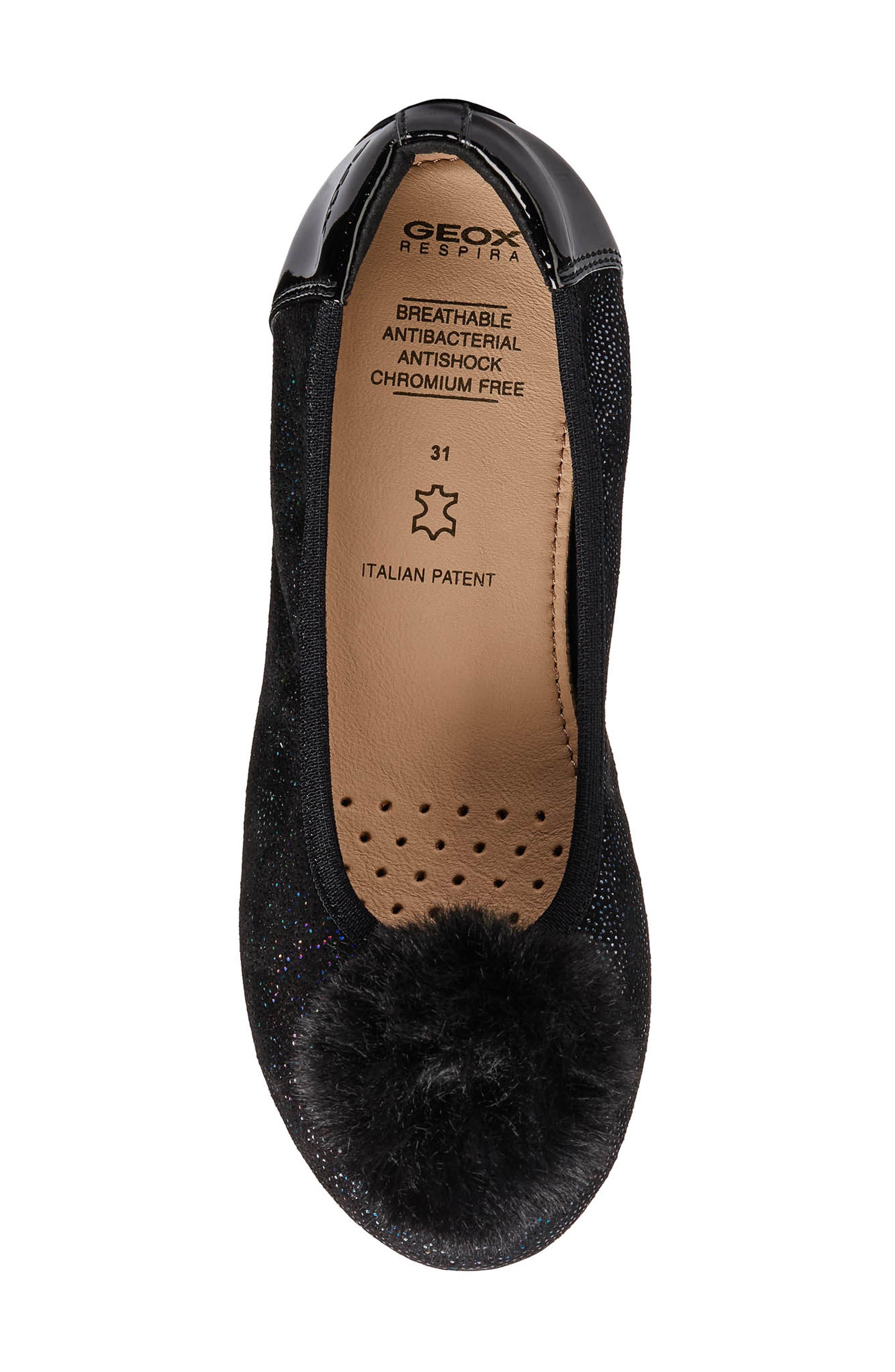 Piuma Faux Fur Pom Glitter Ballerina Flat,                             Alternate thumbnail 4, color,                             BLACK