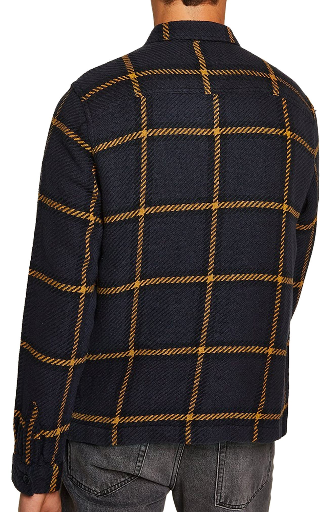 Classic Fit Windowpane Overshirt,                             Alternate thumbnail 3, color,                             NAVY BLUE