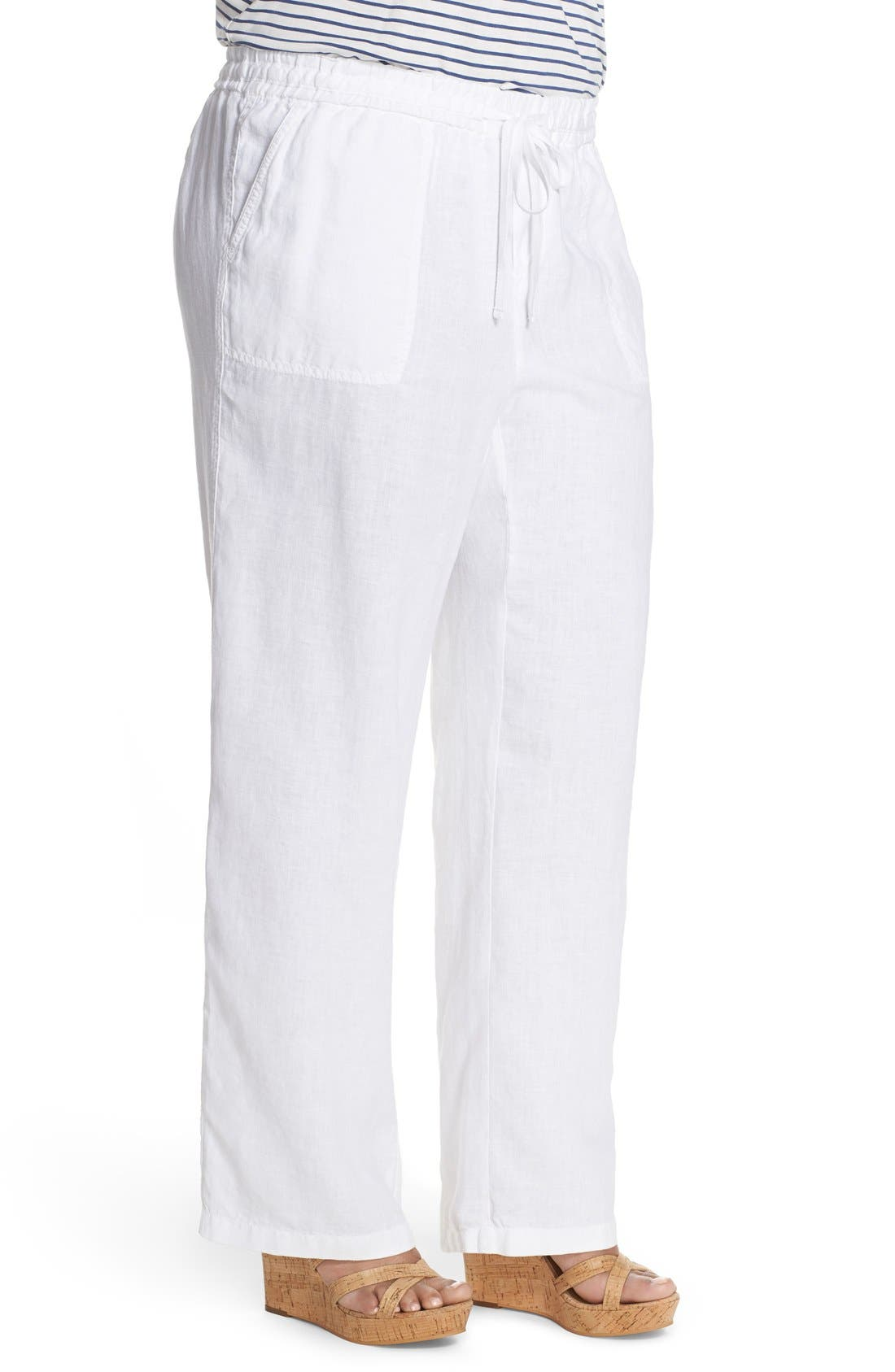 Drawstring Linen Pants,                             Alternate thumbnail 3, color,                             100
