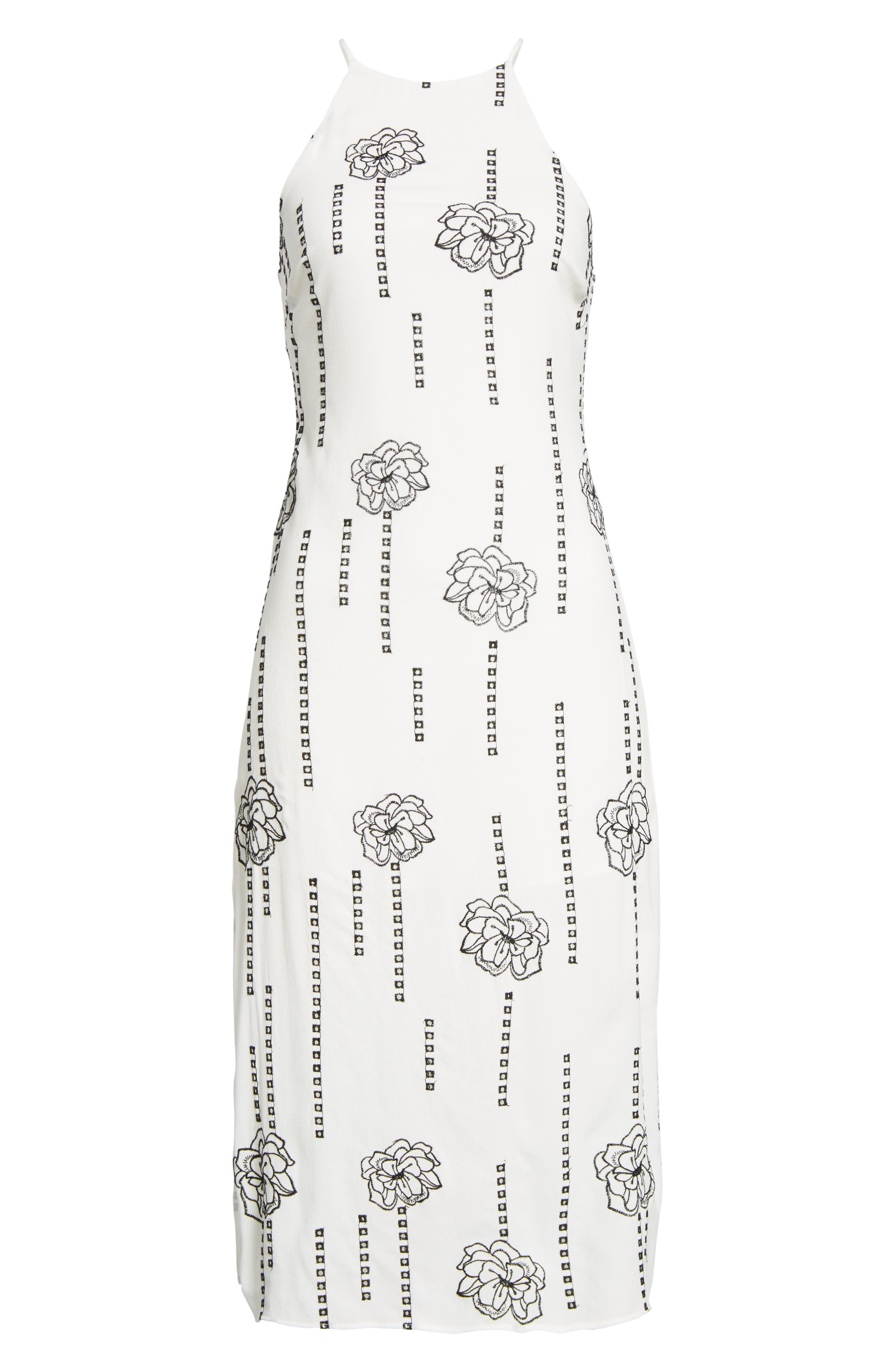 High Neck Embroidered Midi Dress,                             Alternate thumbnail 6, color,                             100