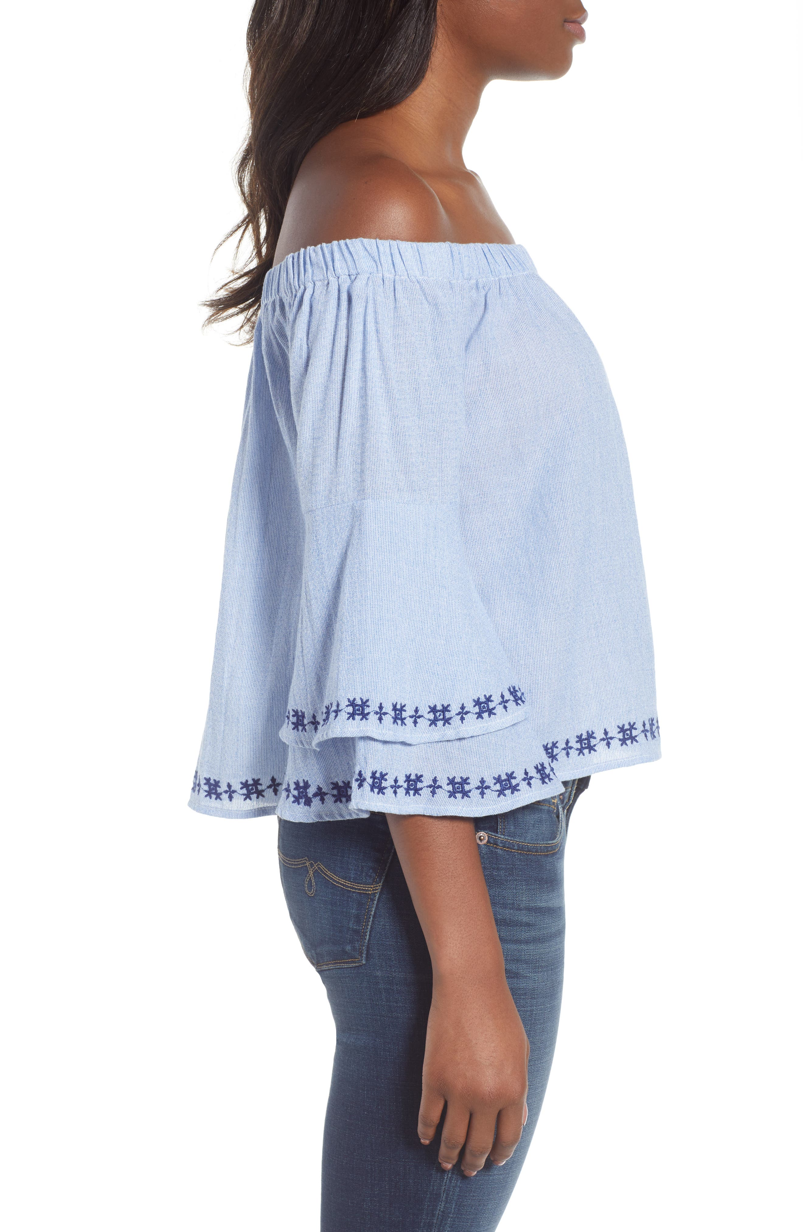 Pinstriped Embroidered Off the Shoulder Cotton Top,                             Alternate thumbnail 3, color,                             461