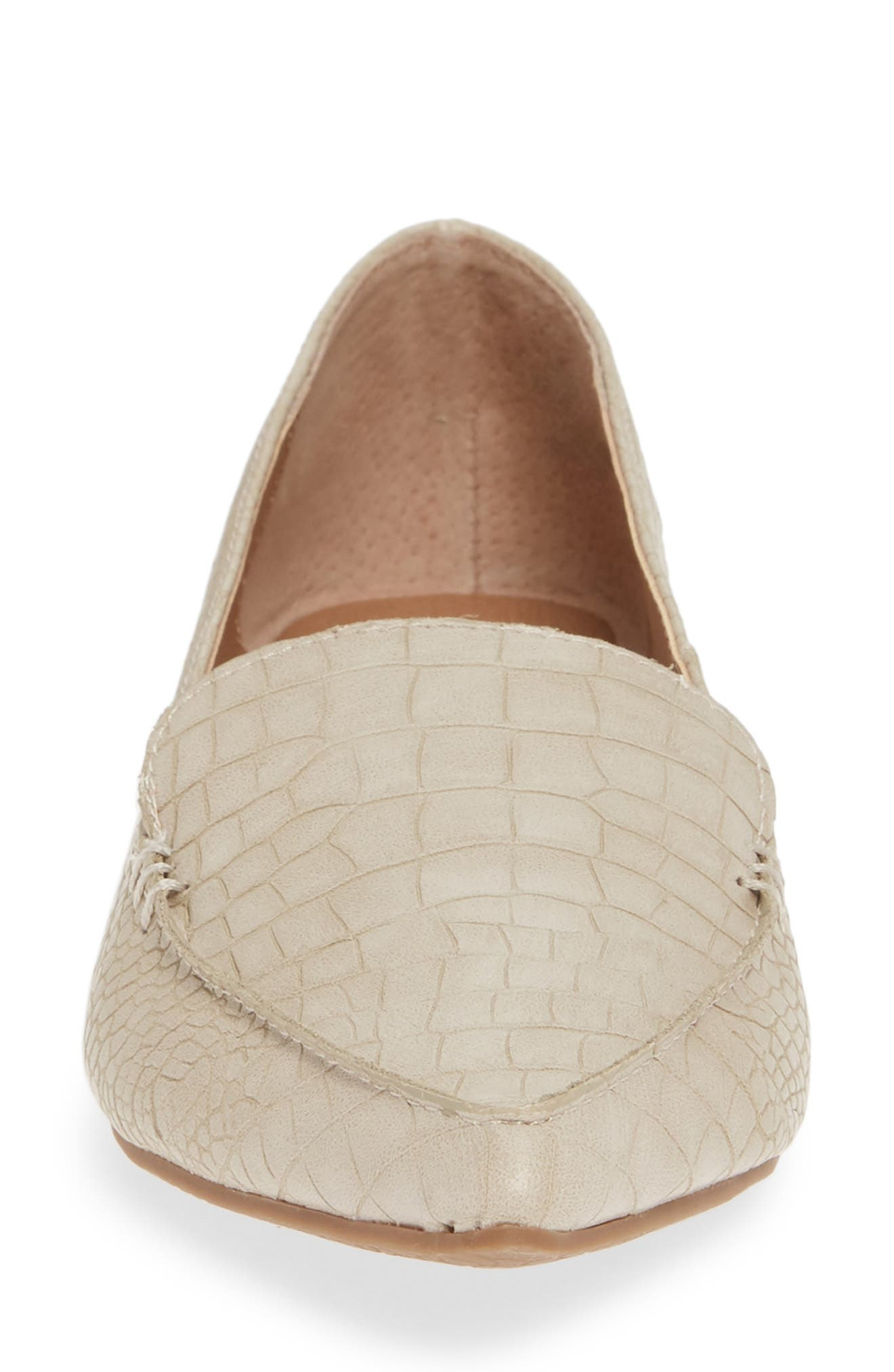 STEVE MADDEN,                             Feather Loafer Flat,                             Alternate thumbnail 4, color,                             TAUPE PRINT