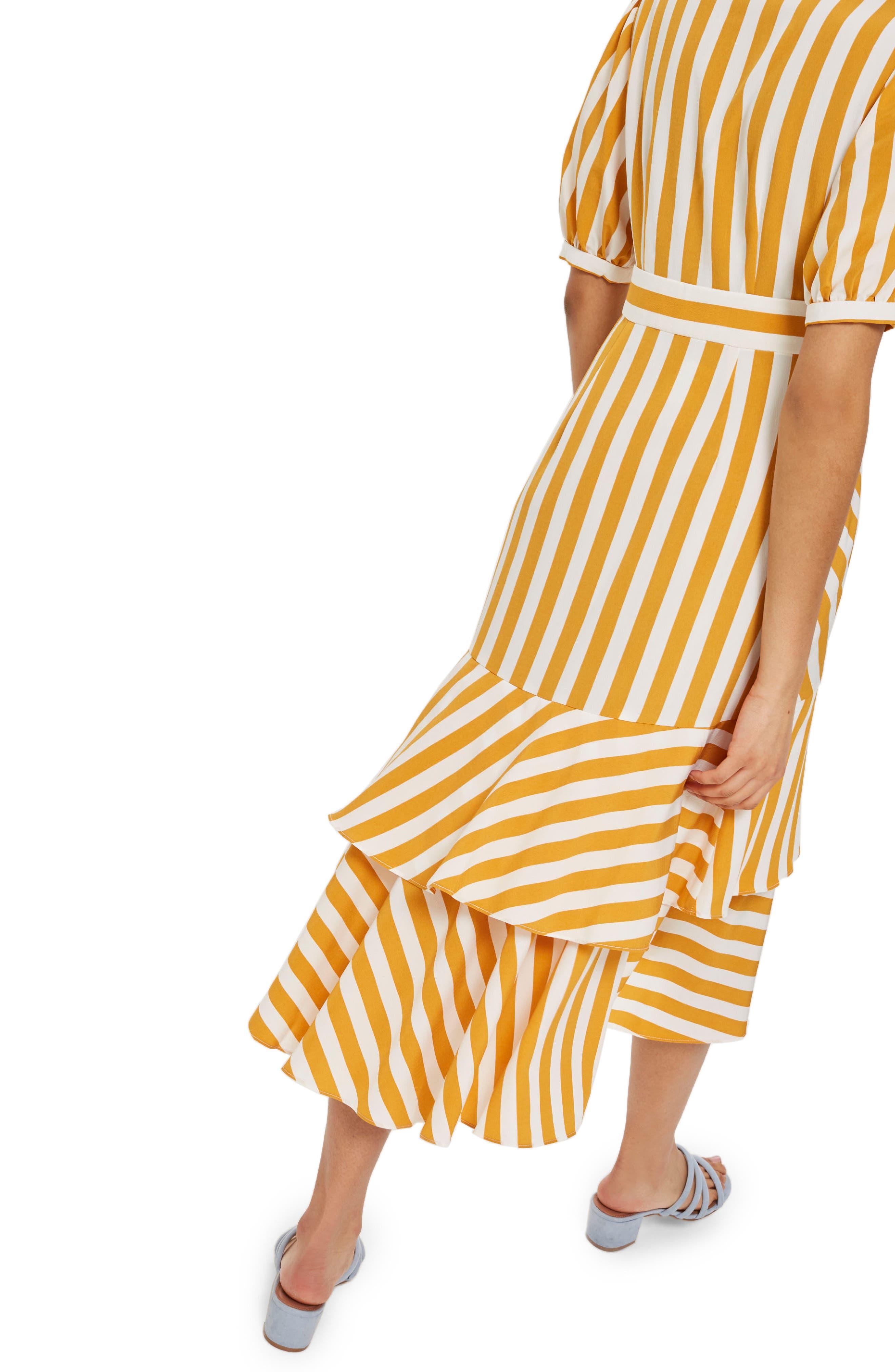 Cutabout Stripe Ruffle Midi Dress,                             Alternate thumbnail 3, color,