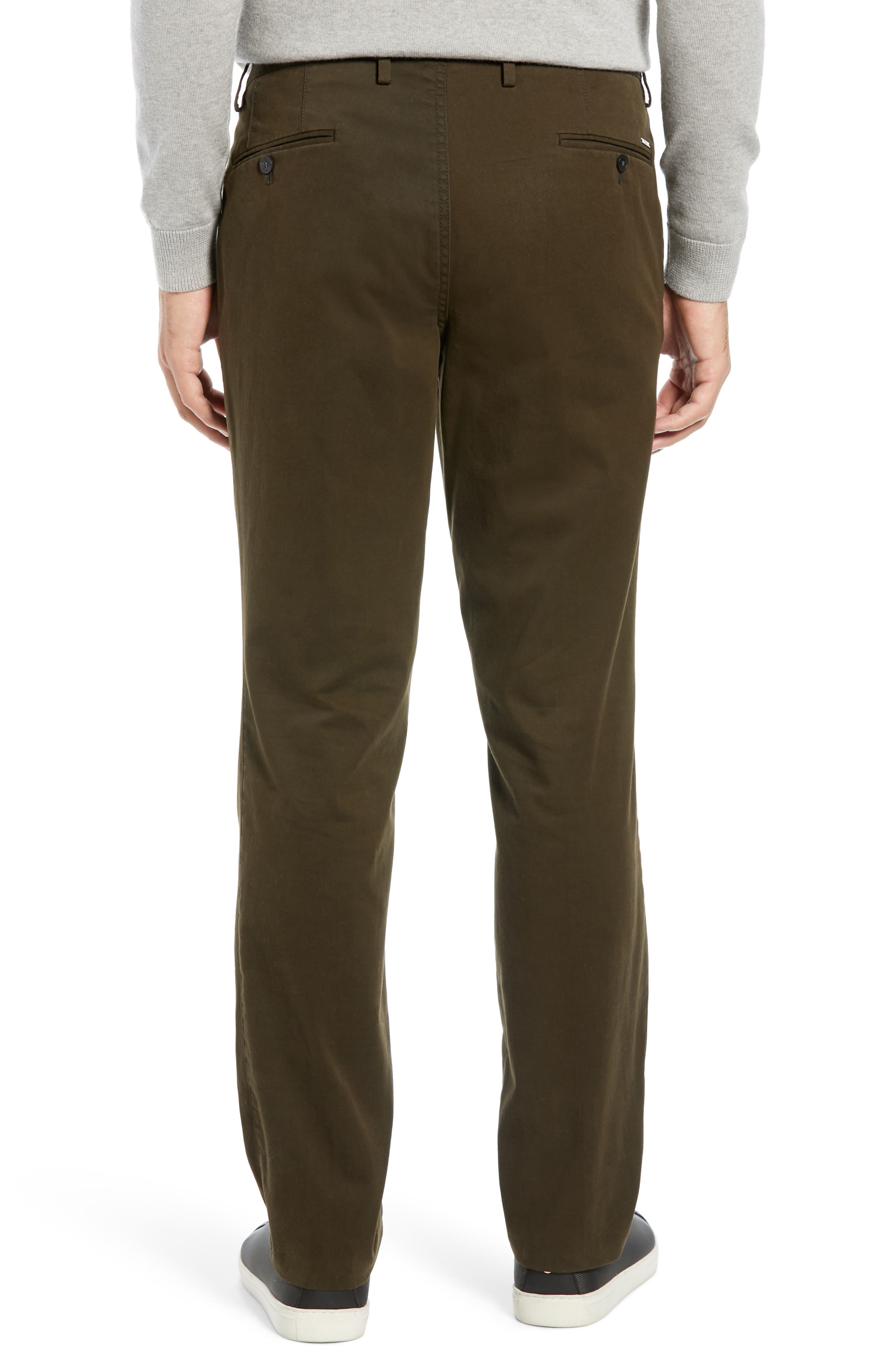 Stanino Flat Front Stretch Cotton Solid Trousers,                             Alternate thumbnail 2, color,                             OLIVE