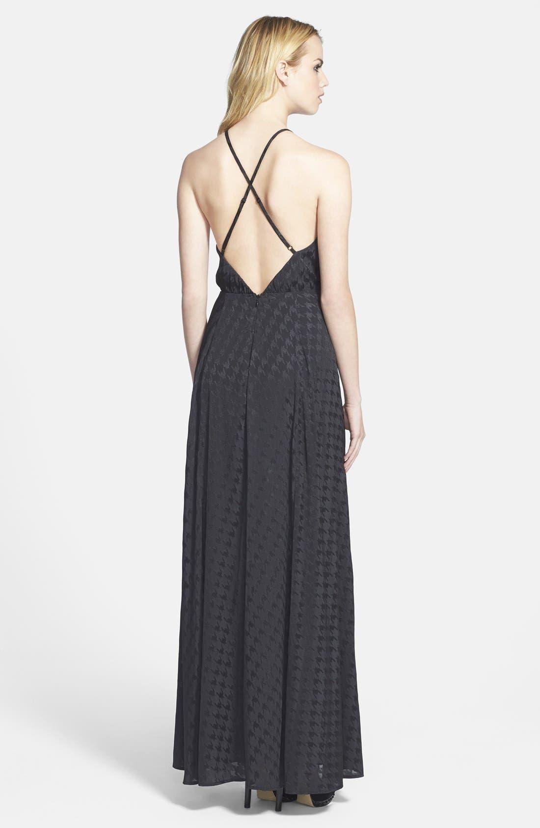 ASTR Jacquard Houndstooth Maxi Dress,                             Alternate thumbnail 3, color,                             001