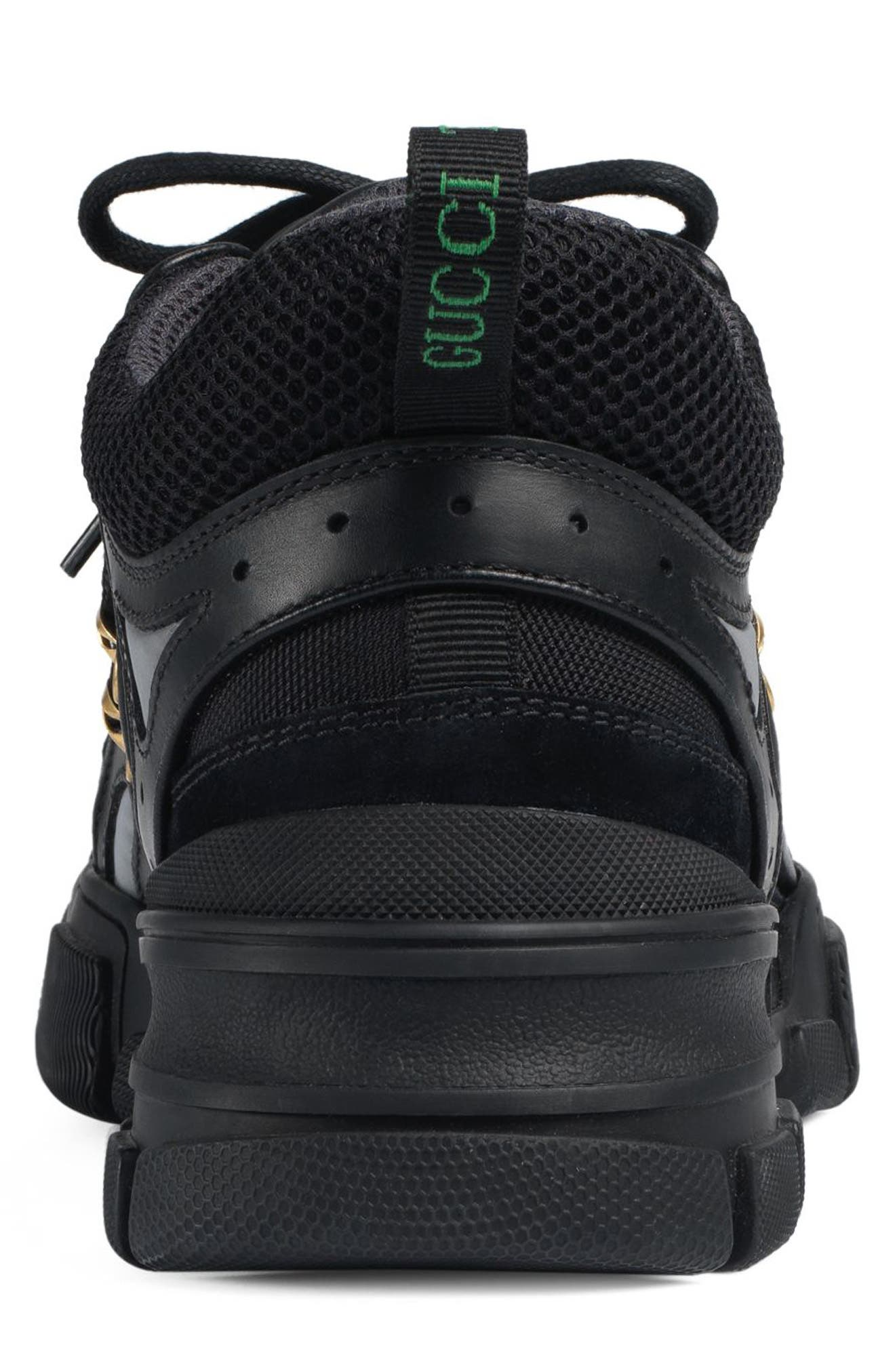Leather and Canvas Sneaker,                             Alternate thumbnail 5, color,                             NERO/ NERO