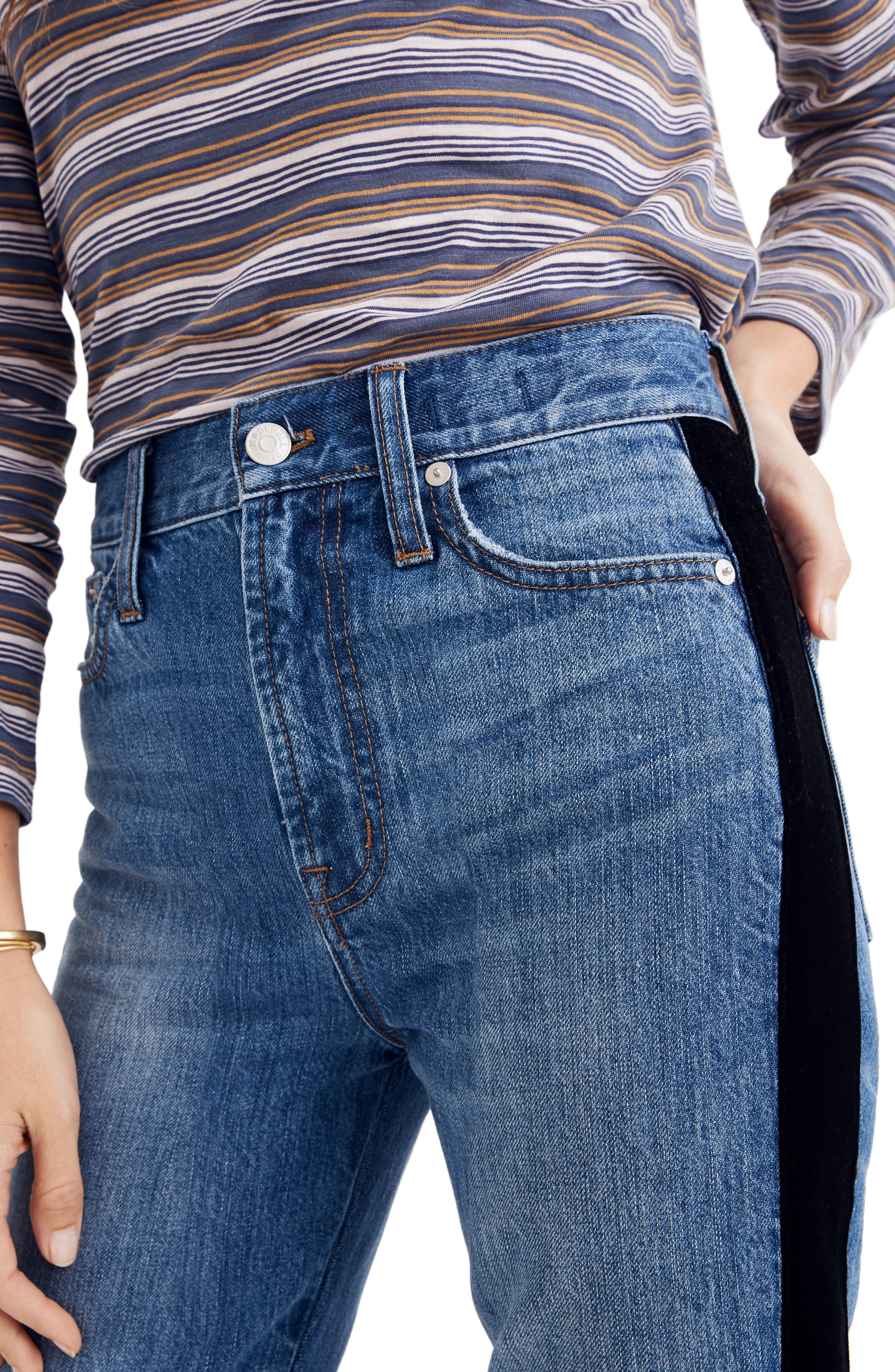 The Perfect Vintage Velvet Tux Stripe Jeans,                             Alternate thumbnail 4, color,                             BANBURY WASH