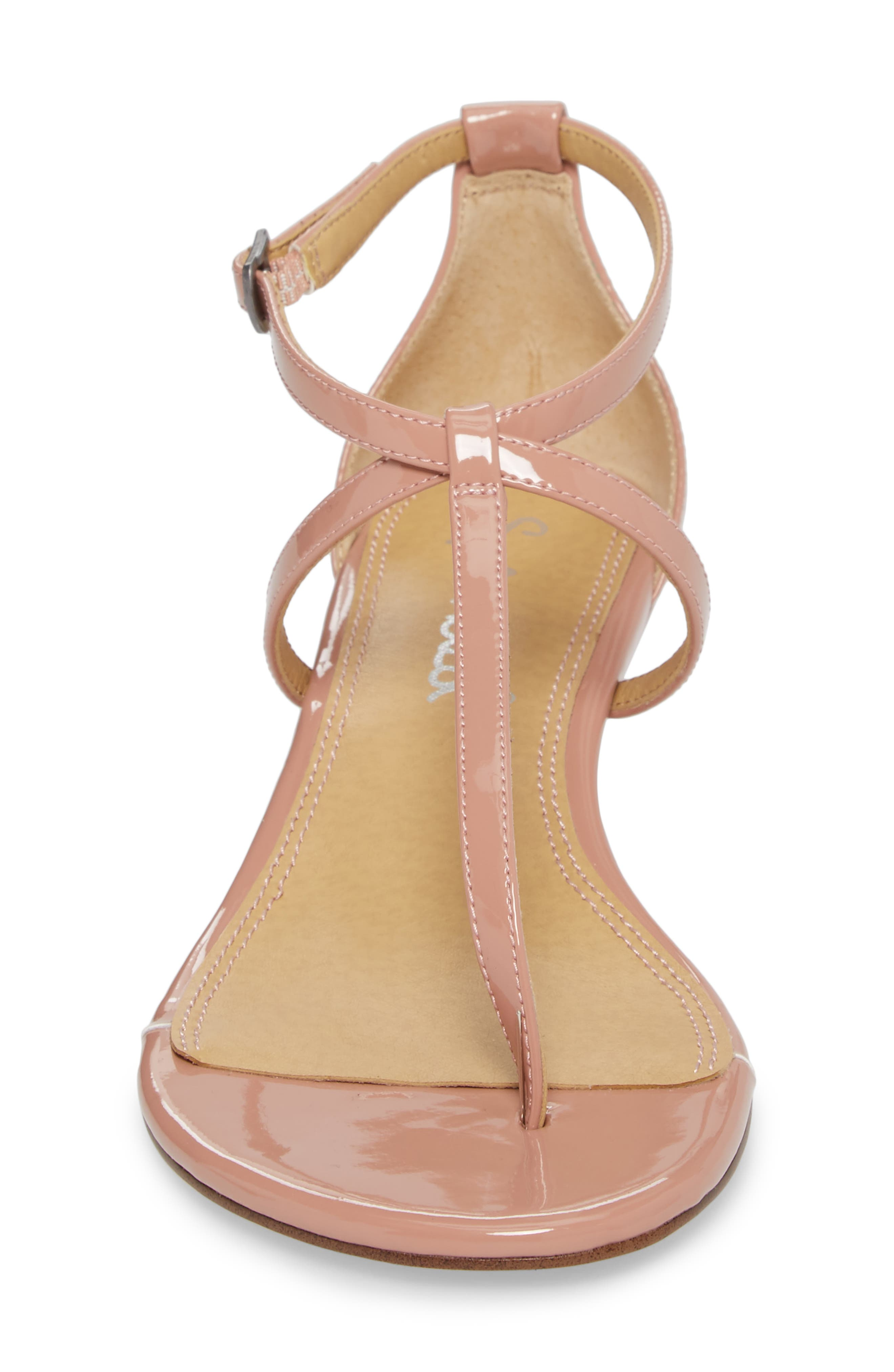 Bryce T-Strap Wedge Sandal,                             Alternate thumbnail 4, color,                             DARK BLUSH PATENT