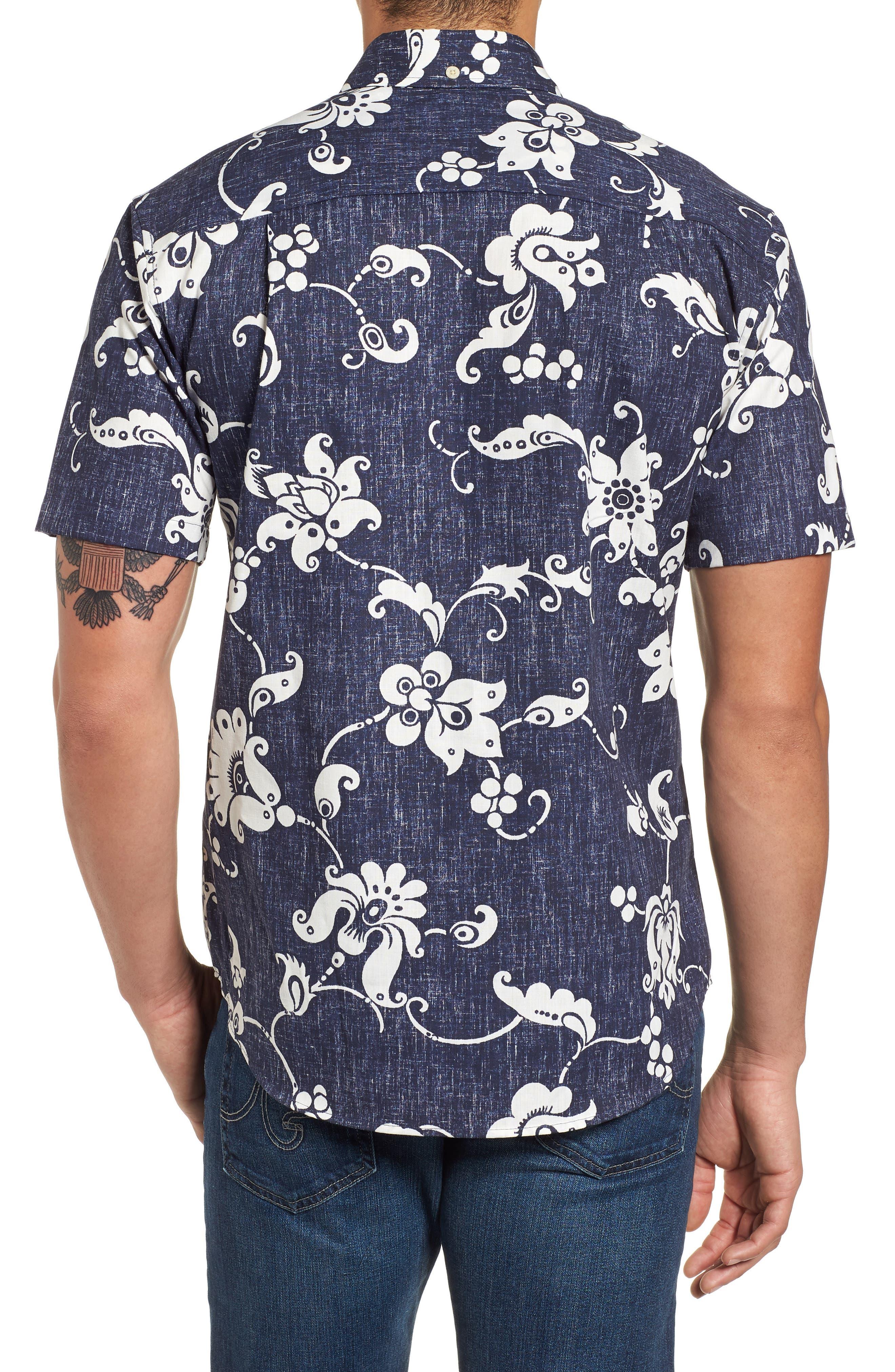 Aloha Pareau Tailored Fit Sport Shirt,                             Alternate thumbnail 2, color,                             410