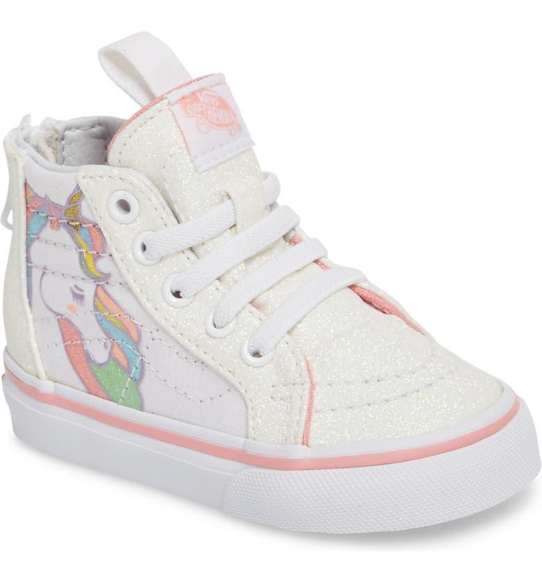 0e4524fbd59457 Vans SK8-Hi Zip Glitter Unicorn Sneaker (Baby