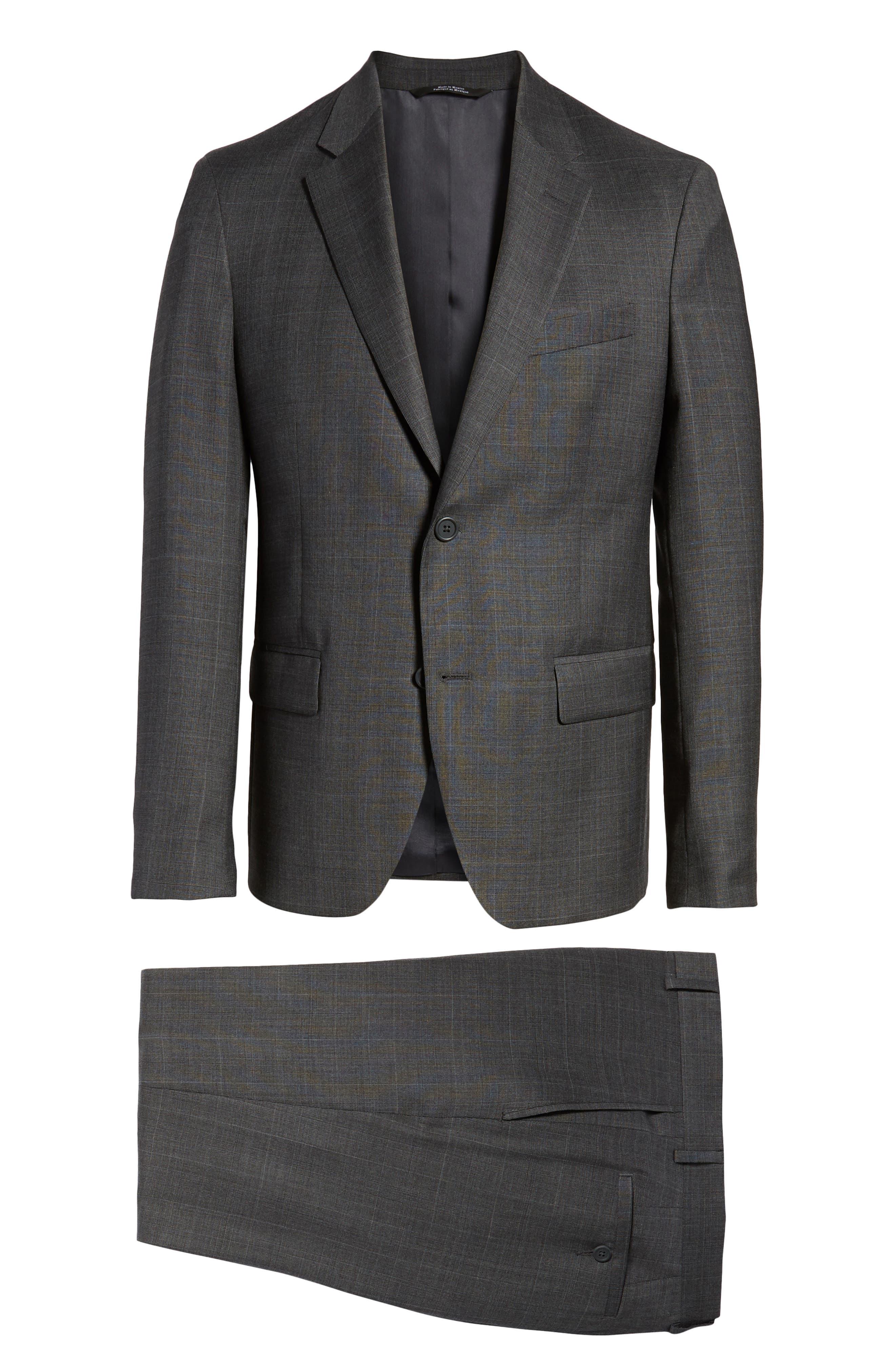 Trim Fit Plaid Wool Suit,                             Alternate thumbnail 8, color,                             010