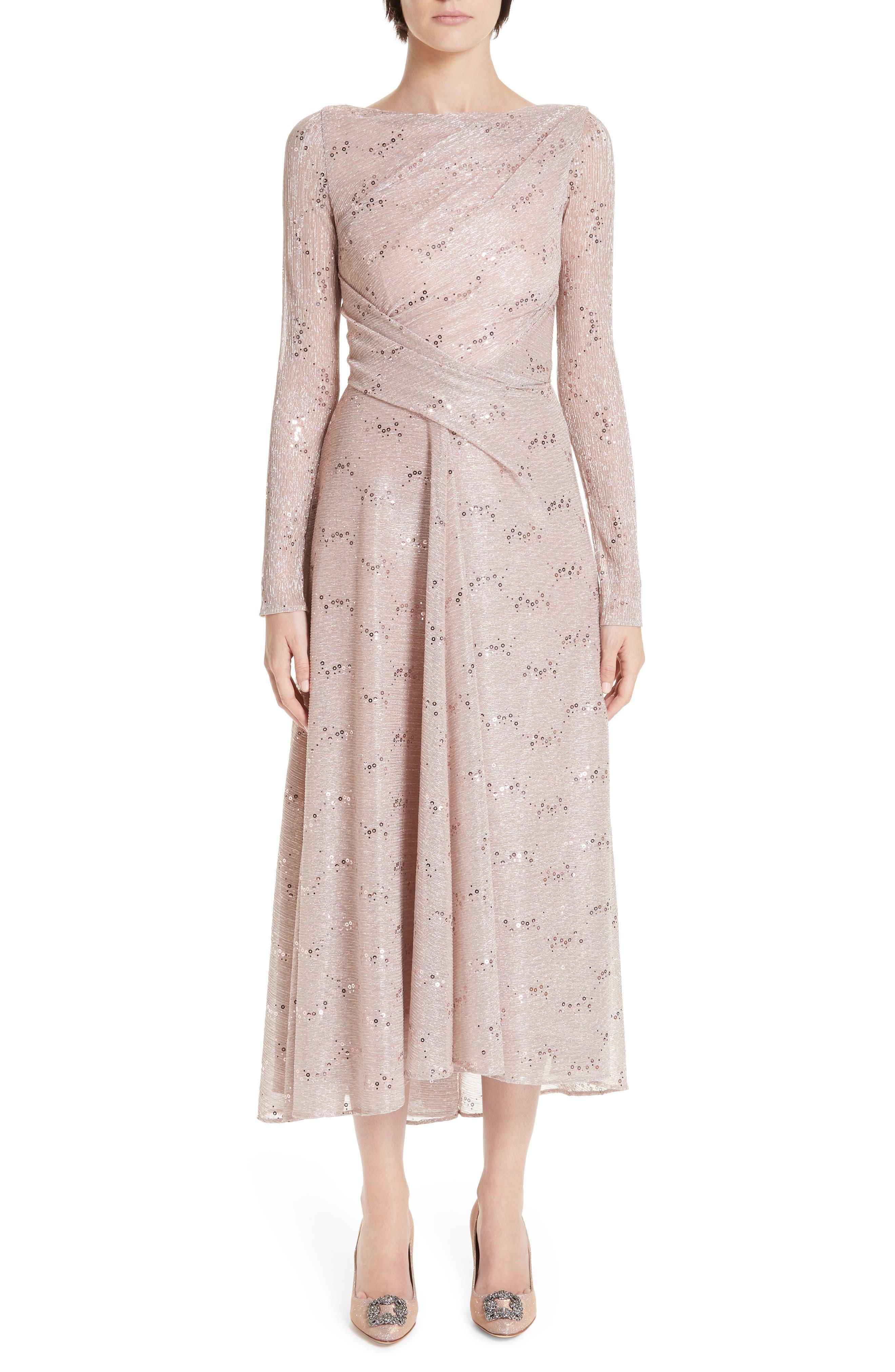 Talbot Runhof Sequin Metallic Voile Tea Length Dress, Pink